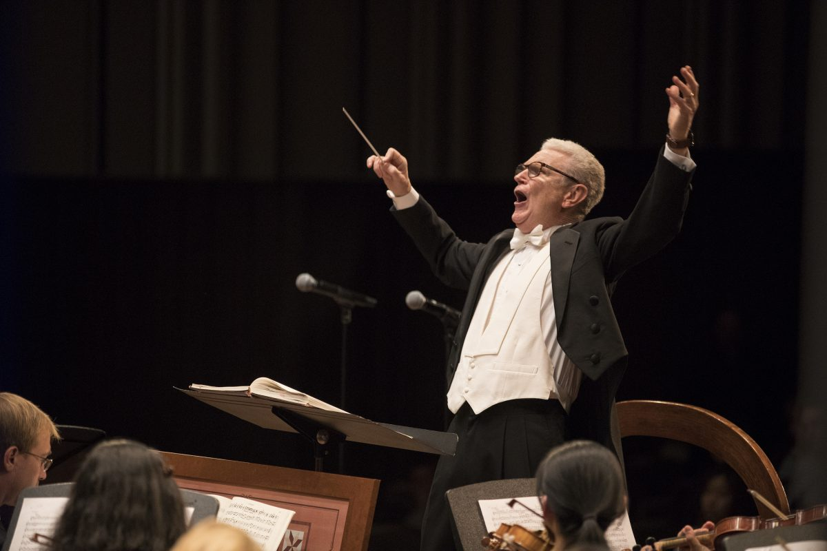 William Parberry leads his last concert Friday, April 20, 2018, after 45 years as choral director at Penn. He led the University Choral in Handel´s Messiah, with alums from all over on the risers and in the audience.