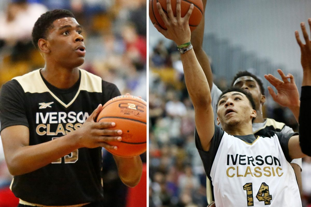 Two Villanova recruits, Brandon Slater (left) and Jahvon Quinerly, played in the Iverson Classic on Saturday.