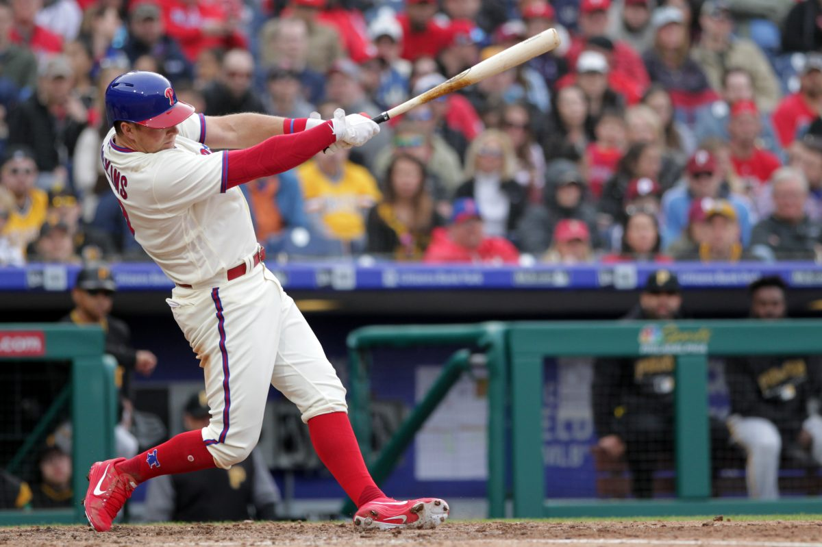 Rhys Hoskins of the Phillies hits a 3-tun home run against the Pirates on April 21, 2018.