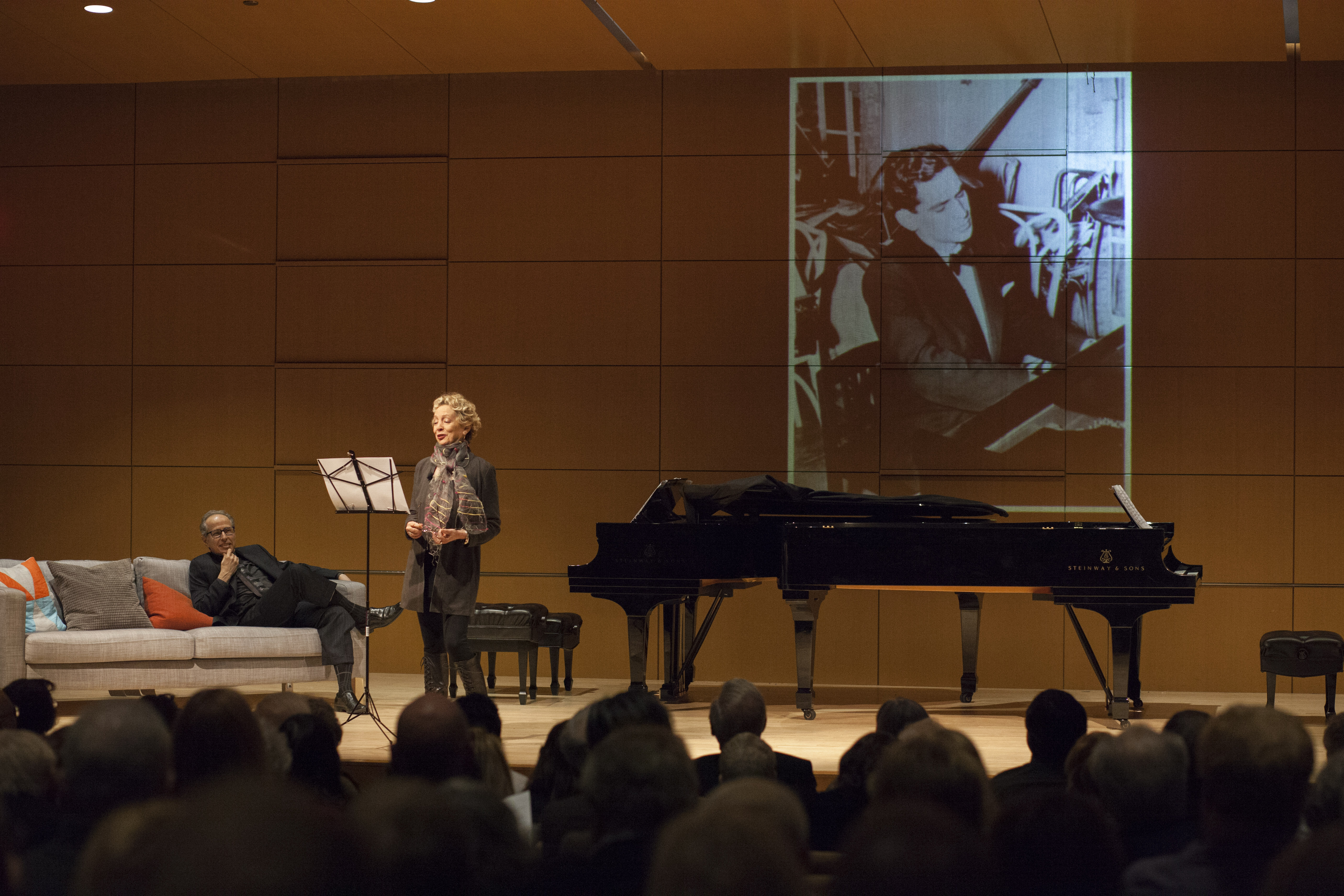 "Jamie Bernstein with pianist Michael Boriskin (seated), performing ""Late Night with Leonard Bernstein"" April 21, 2018 at the National Museum of American Jewish History in Philadelphia."