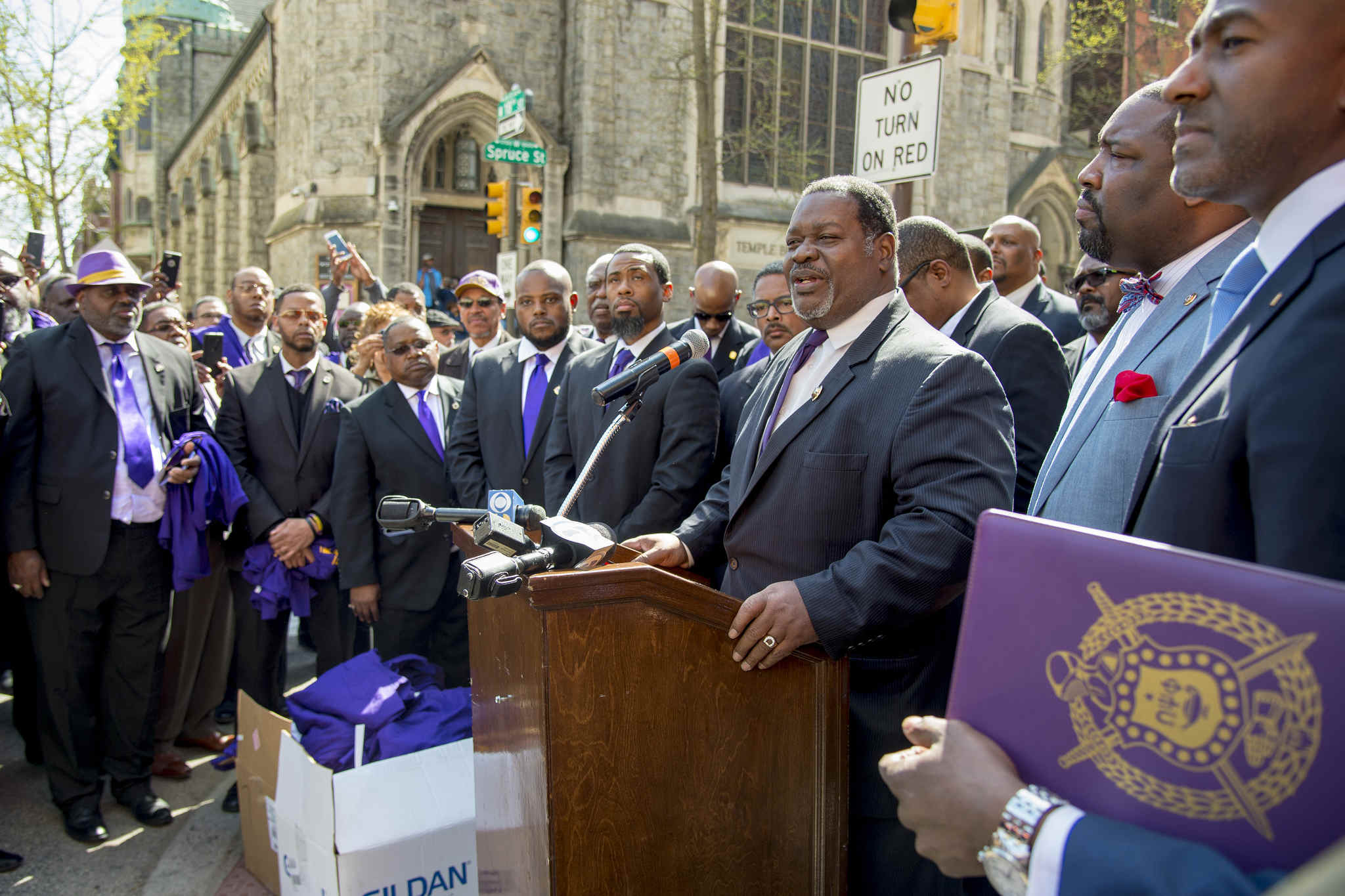 Antonio F. Knox Jr., Grand Basileus of Omega Psi Phi, speaks outside the Starbucks where fraternity brother Rashon Nelson was arrested this month.