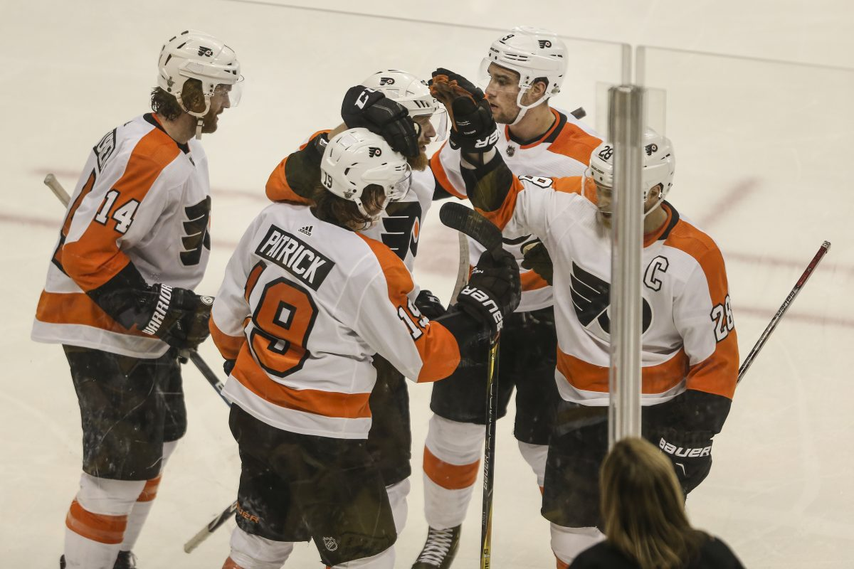Flyers' rookie Nolan Patrick celebrates his goal with teammates against the Penguins during the third period of Game 2 of the series on April 13.