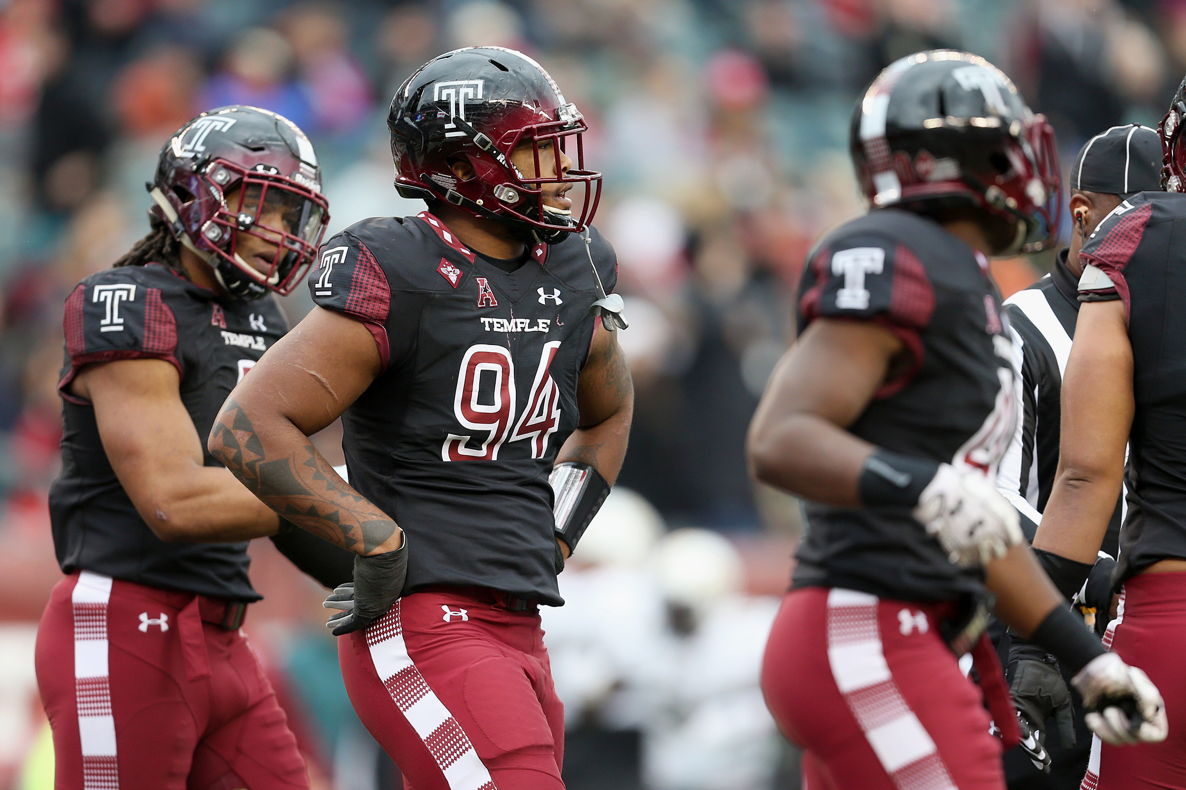 Temple defensive lineman Jullian Taylor (94) putting his hands on his hips after Central Florida scored a touchdown on Nov. 18.