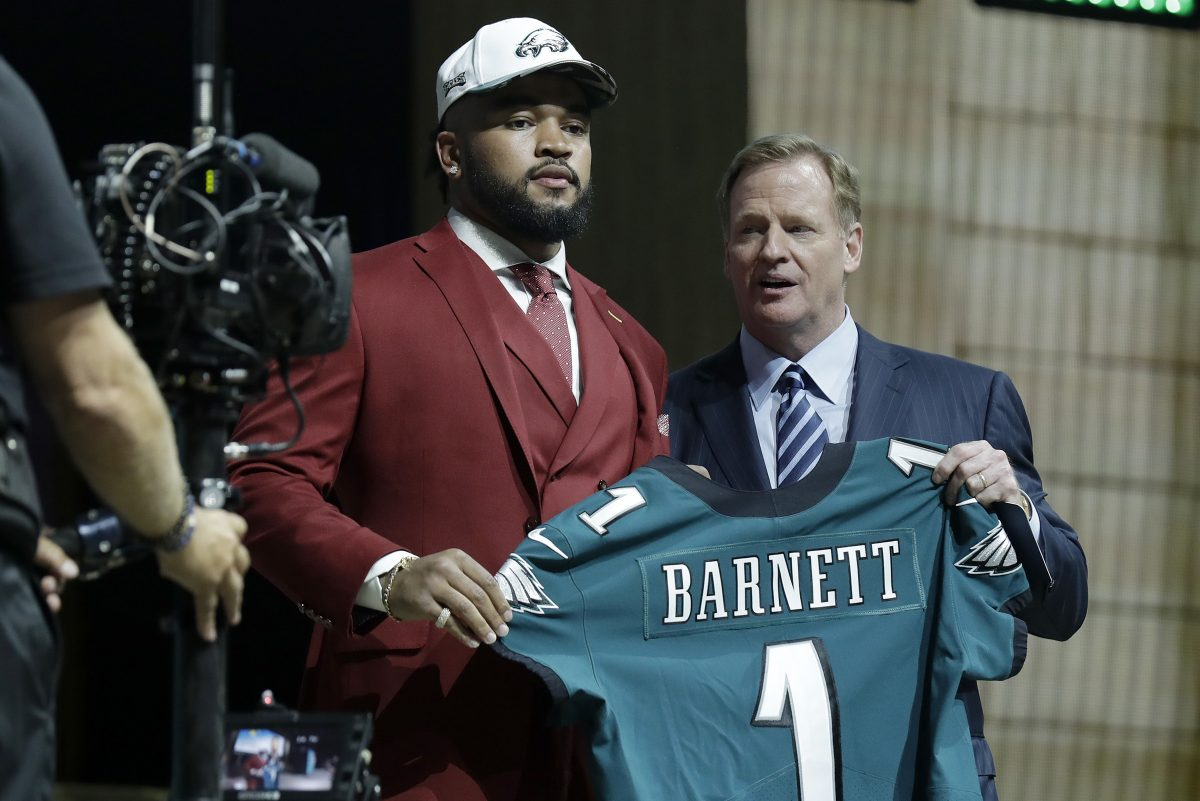 The first round of the NFL Draft is Thursday night. Barring a spectacular trade up, the defending Super Bowl champion Eagles  will be hard pressed to get another first-round blue chipper like they did with Derek Barnett last year.