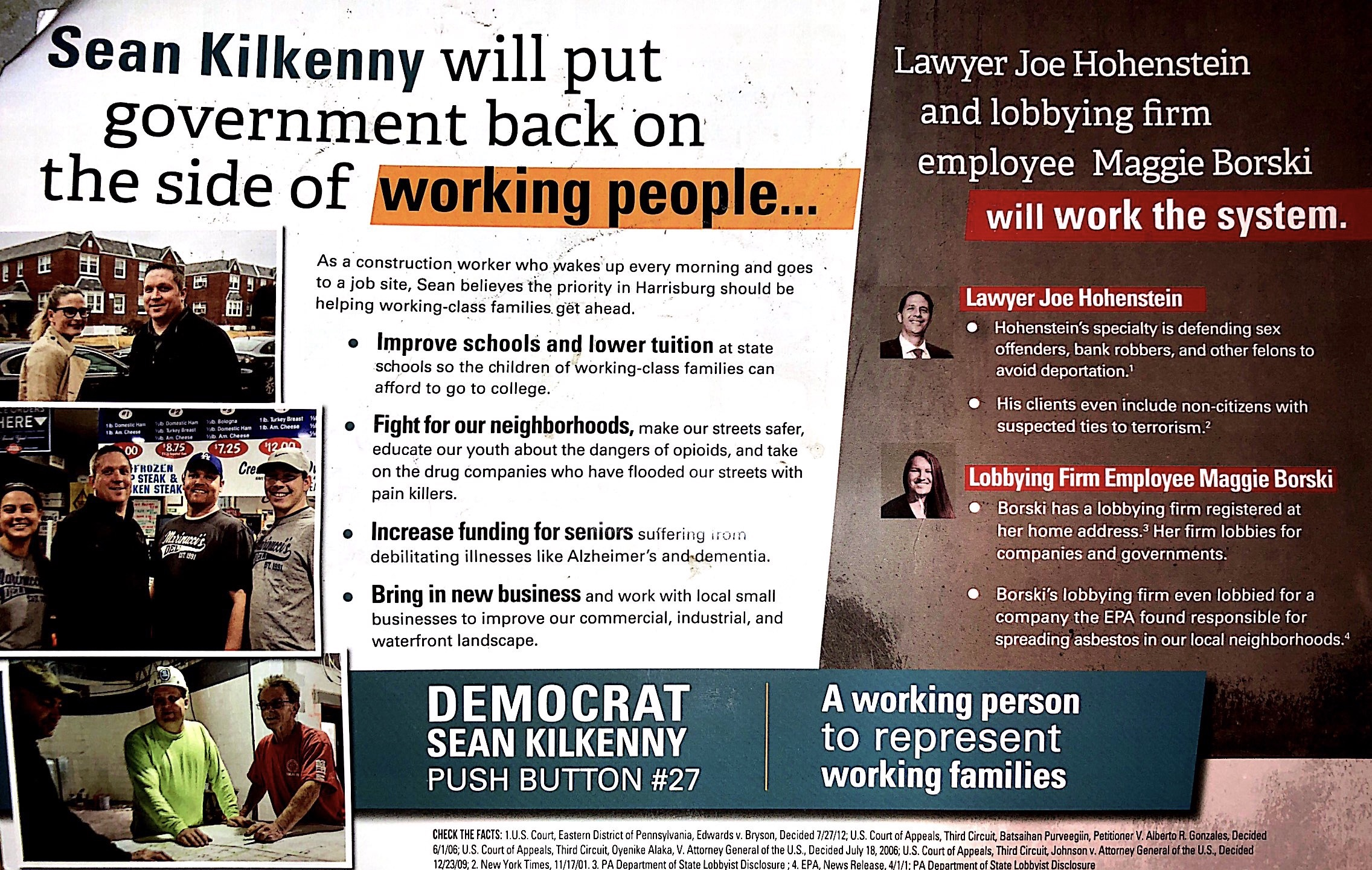 "Democrat Joseph Hohenstein said his opponent Sean Kilkennys ads are ""racially charged."" Kilkennys campaign stood by the flyers."