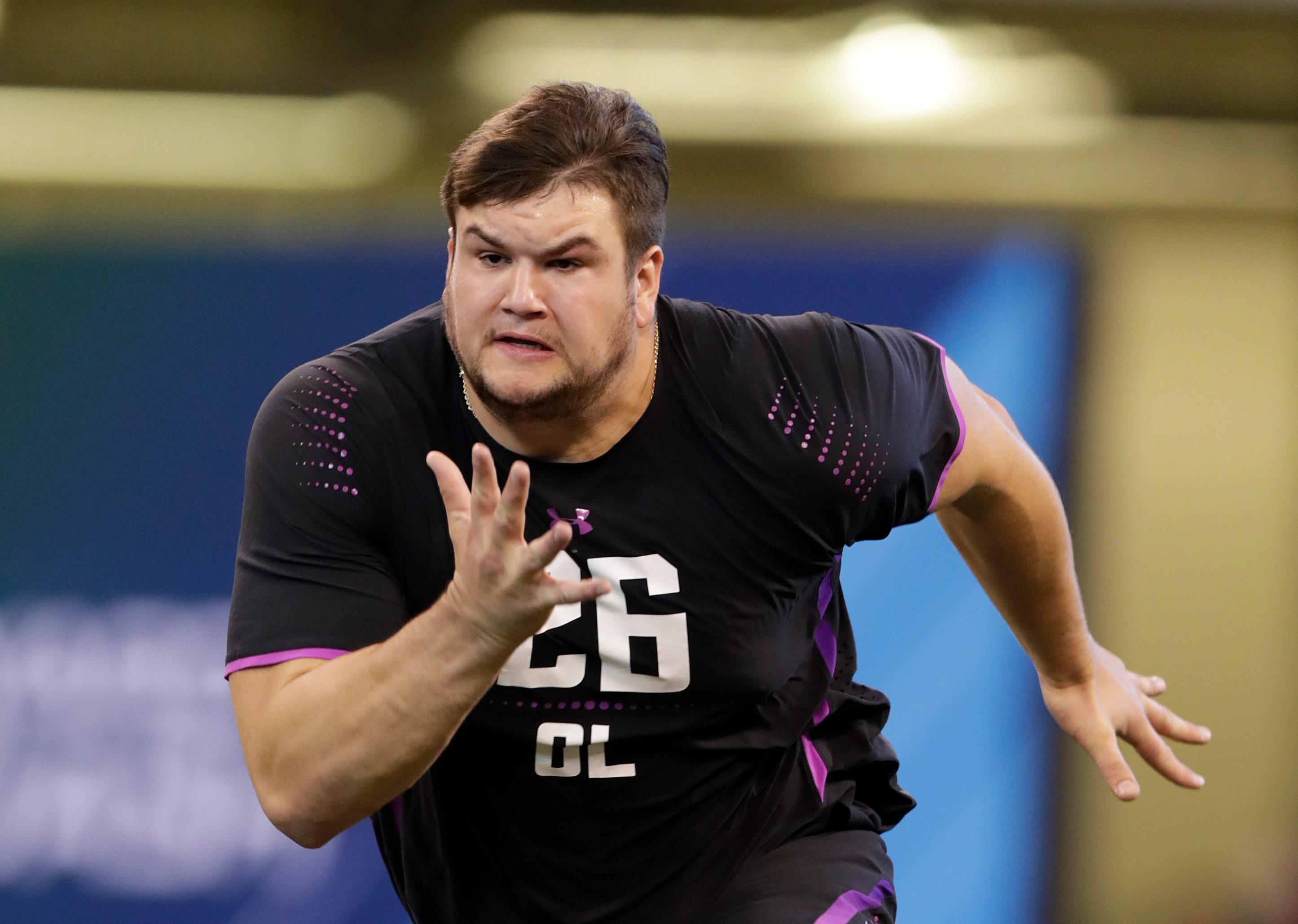 Notre Dame guard Quenton Nelson running a drill at the NFL combine.