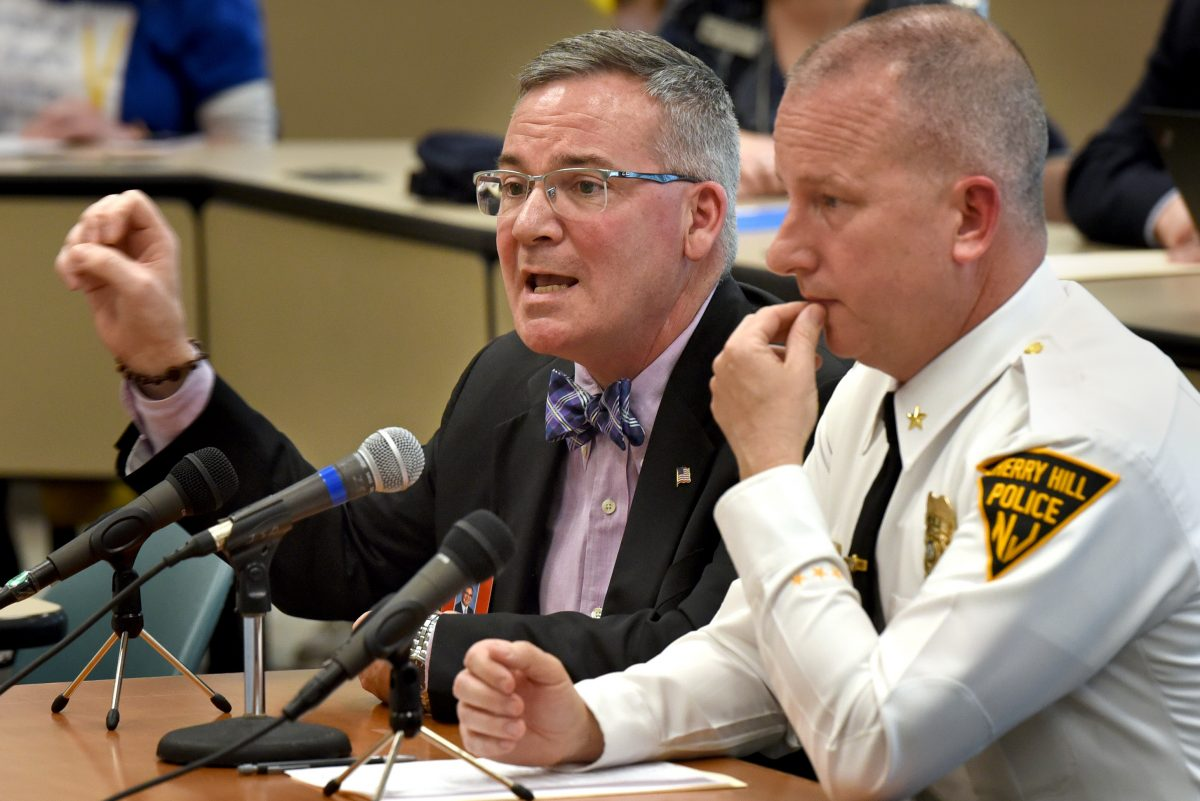 Joe Meloche (left) Superintendent of Cherry Hill Public Schools testifies with Cherry Hill Police Chief William Monaghan (right) before a joint hearing of the N.J. Senate and Assembly Committees on school security earlier this month.