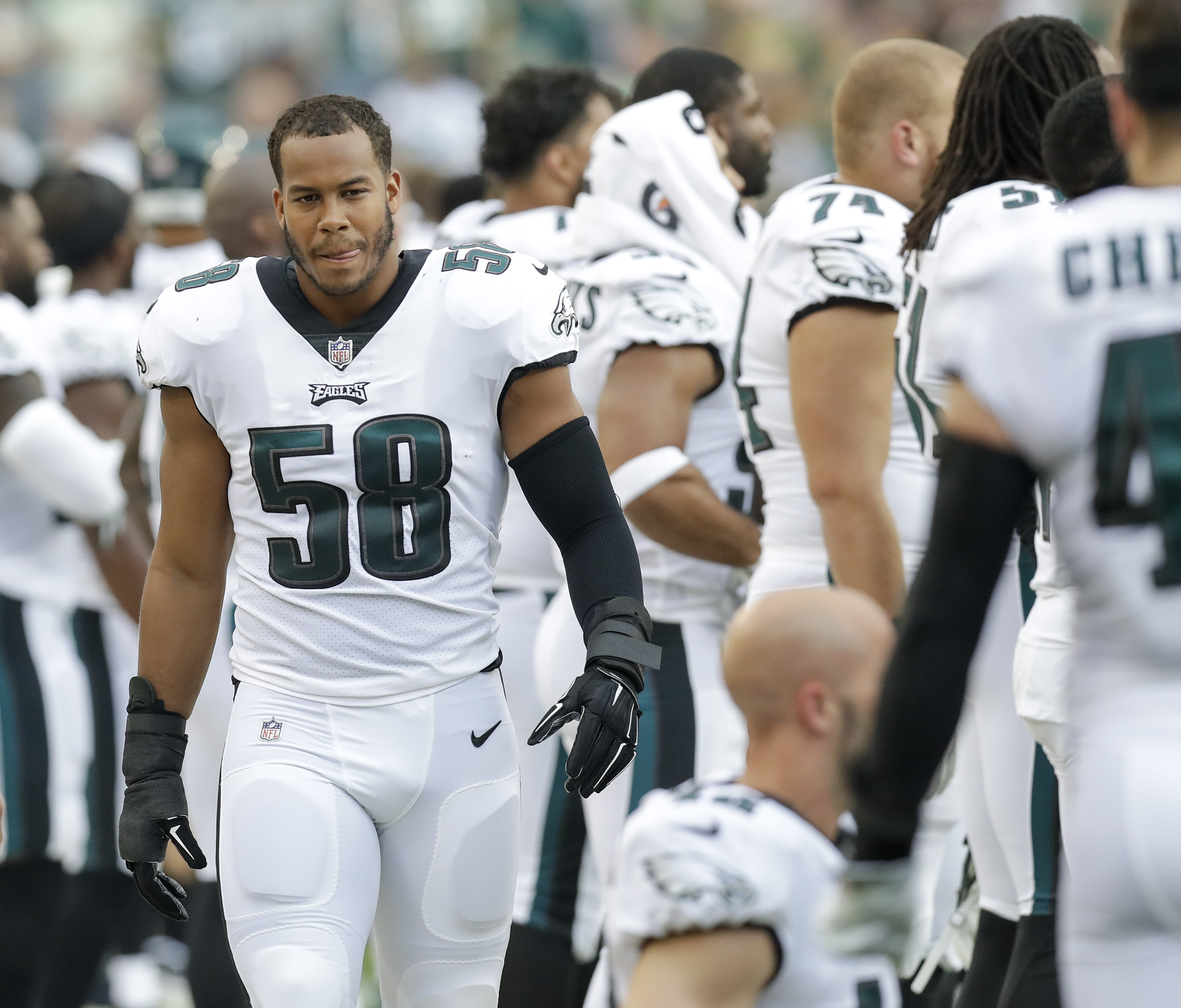 Eagles´ middle linebacker Jordan Hicks walking the Eagles sidelines against the Green Bay Packers in a preseason game at Lambeau Field in Green Bay WI on Thursday, August 10, 2017.