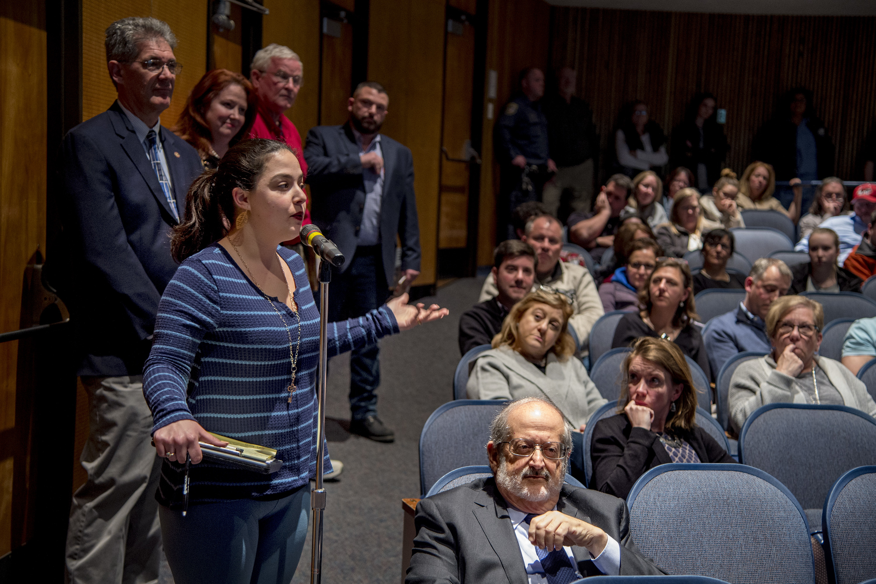 Abington resident Philomena Delancy addresses the Abington School Board during the public comment part of their meeting April 10, 2018 with residents questioning the $25 million donation from Wall Street billionaire and alum Stephen Schwarzman. She said she could no longer trust the board and superintendent anymore.