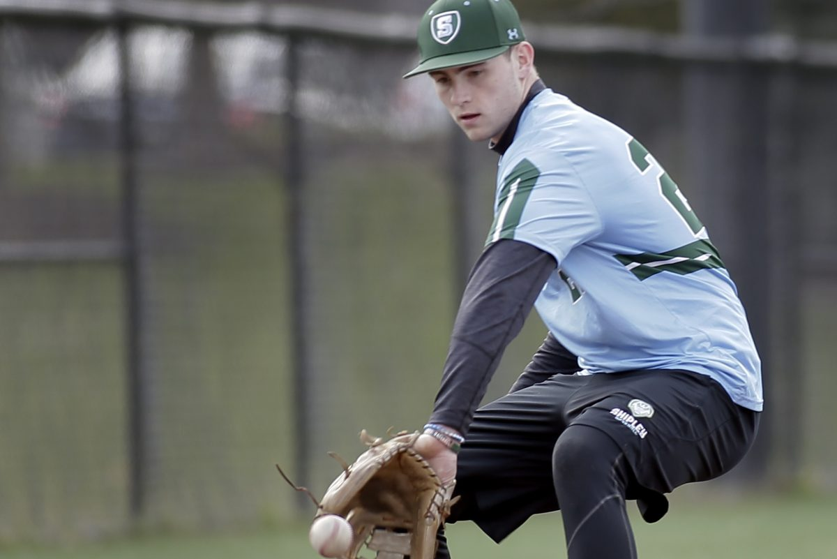 Shipley baseball player Gerard Sweeney during practice on April 11.