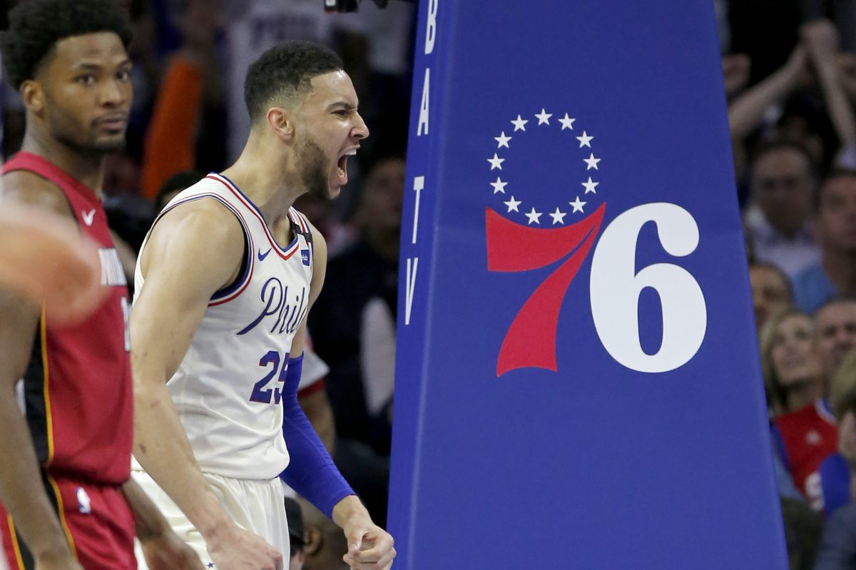 Sixers guard Ben Simmons reacts to his dunk during the first half of the Sixers-Heat Game 5 playoff matchup on Tuesday.