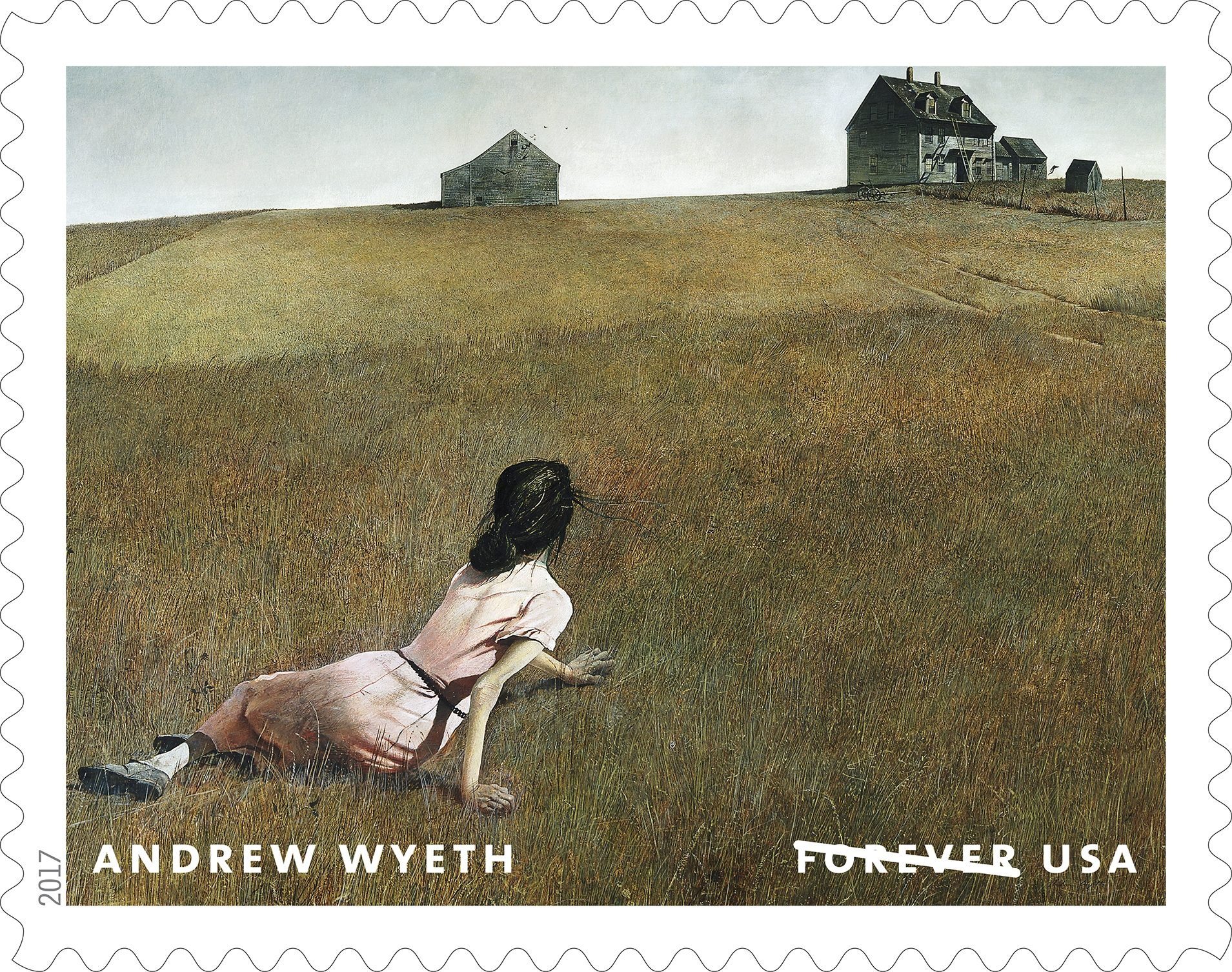 Christina´s World (1948), by Andrew Wyeth. One of 12 U.S. stamps commemorating the centenary of Wyeth´s birth, to be issued July 12.