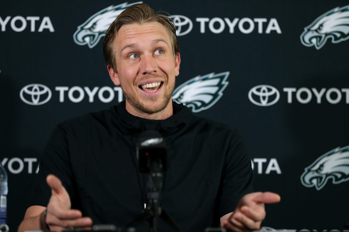 Eagles' quarterback Nick Foles talks during his news conference at the NovaCare Complex in Philadelphia, PA on April 24, 2018.