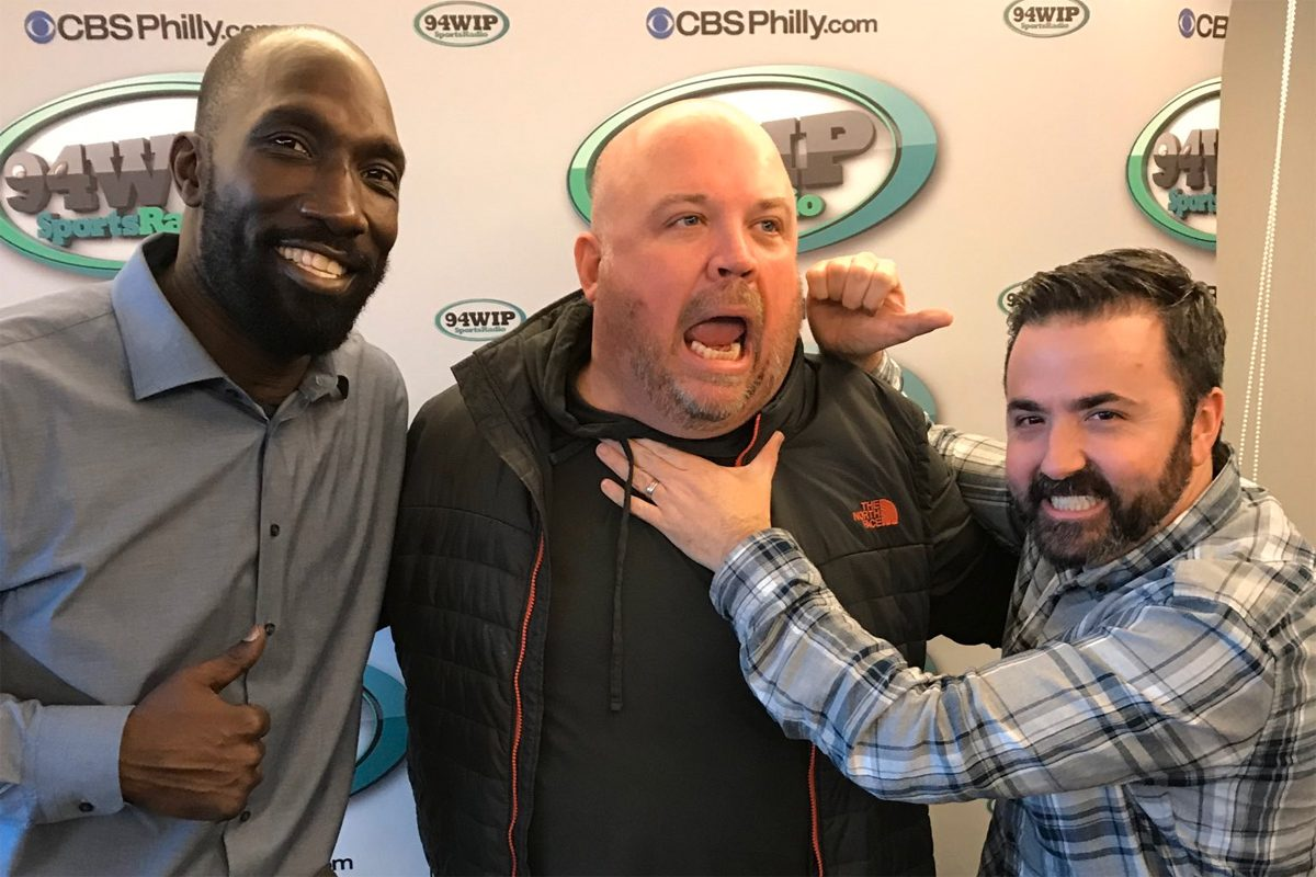 Former WIP hosts Chris Carlin (center) along with his former co-host, Ike Reese (left) and his ultimate replacement, Jon Marks (right).