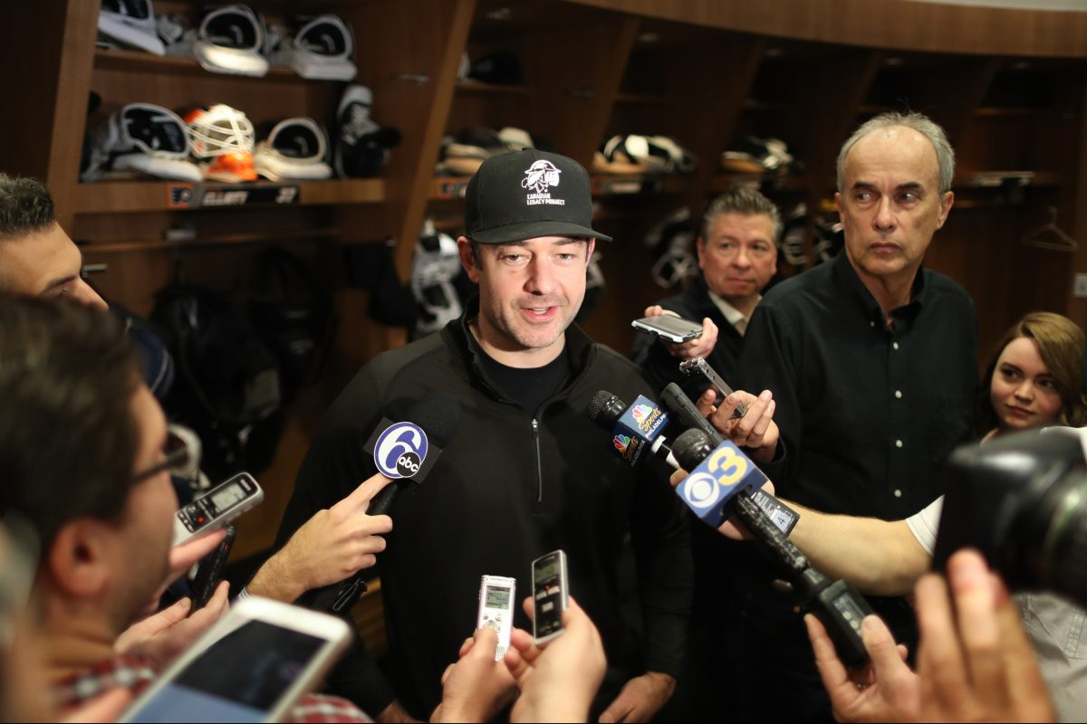 Goalie Brian Elliott speaks to reporters on the day the Flyers cleaned out their lockers at their Voorhees practice facility Wednesday.
