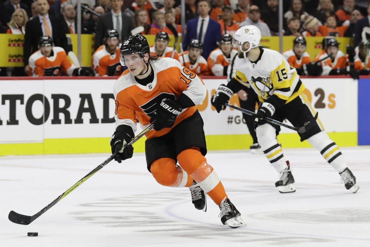 Flyers center Nolan Patrick skates with the puck against the Penguins in Game 3 of the Eastern Conference quarterfinals.