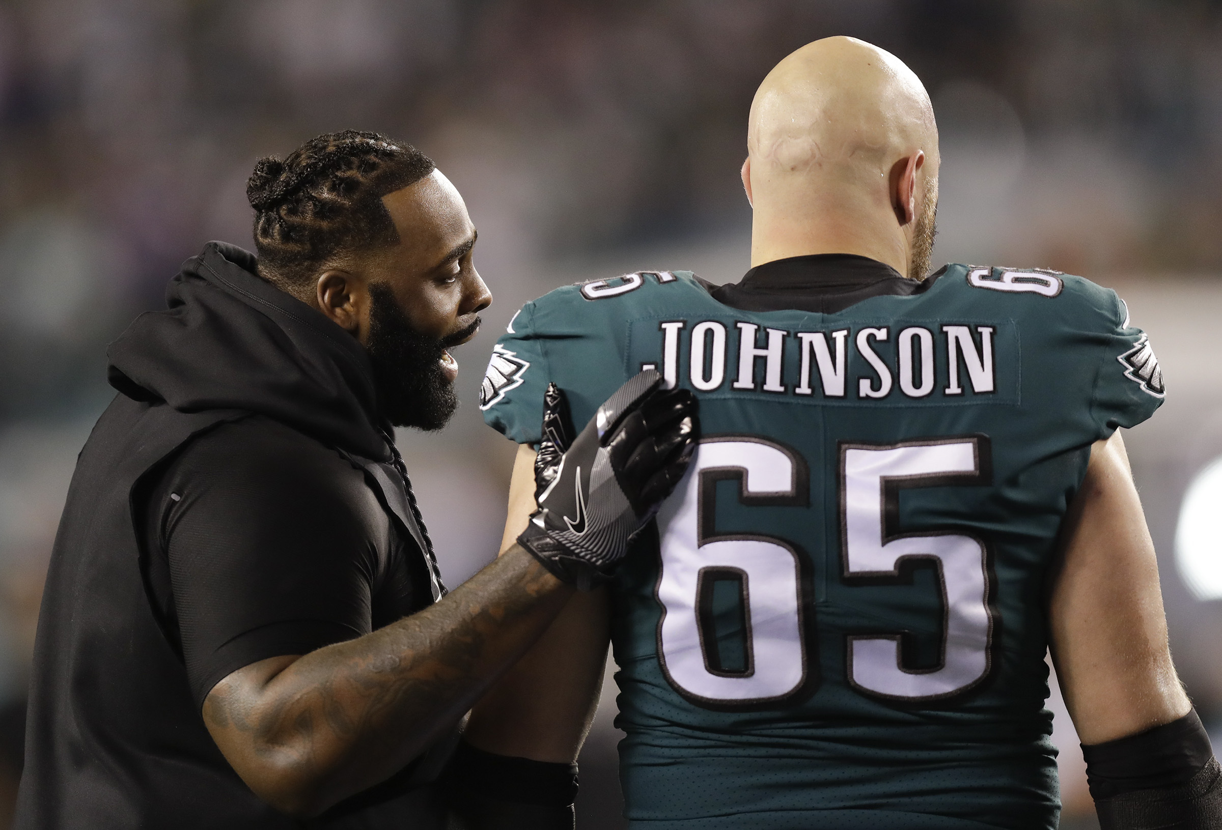 Lane Johnson (right) could be the eventual replacement for Jason Peters on the left side of the line, but the surplus of elite edge rushers that line up on his side now could leave him at right tackle.