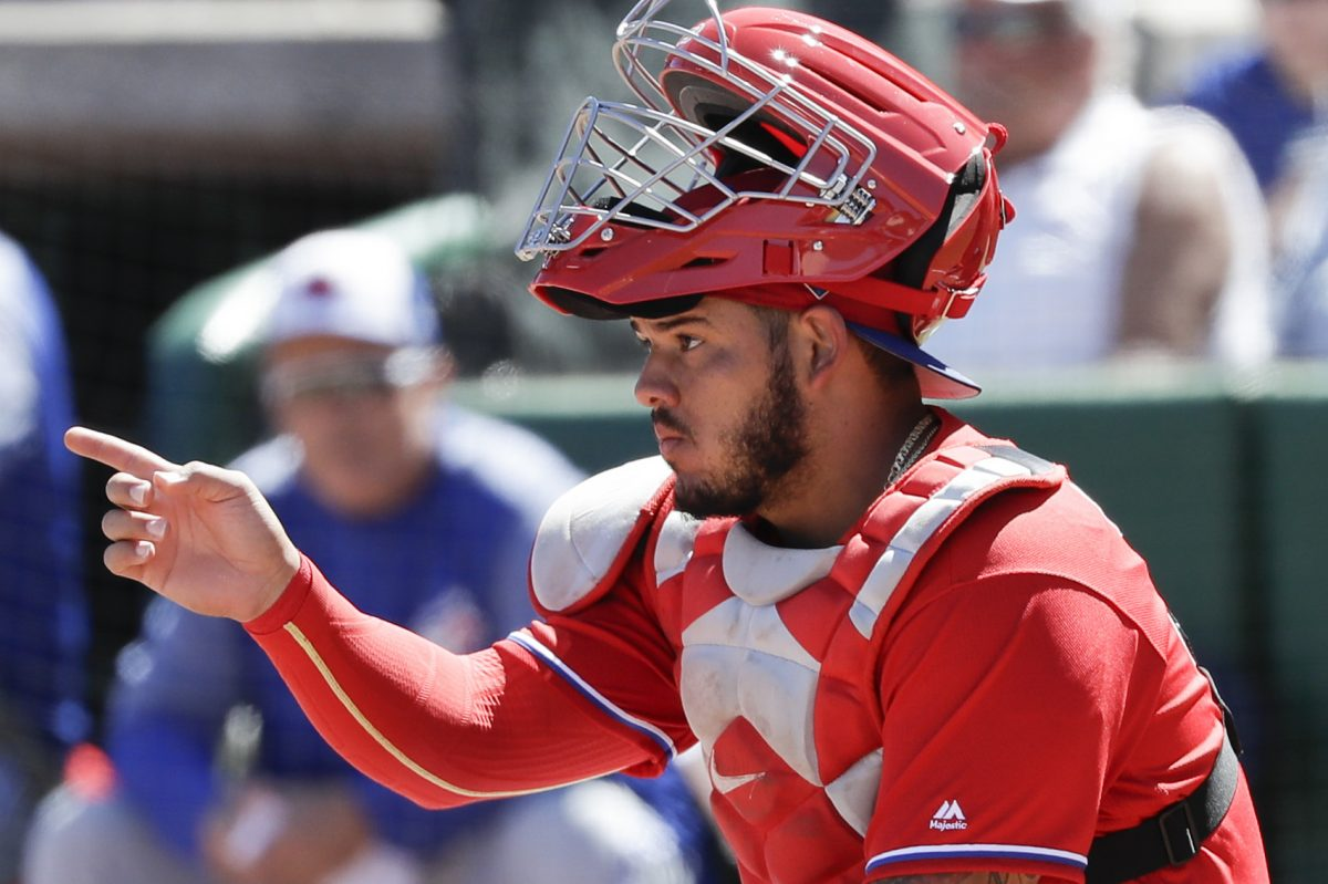 Phillies catcher Jorge Alfaro signals to the defense during a spring training game against the Toronto Blue Jays at Spectrum Field in Clearwater, FL on Sunday.
