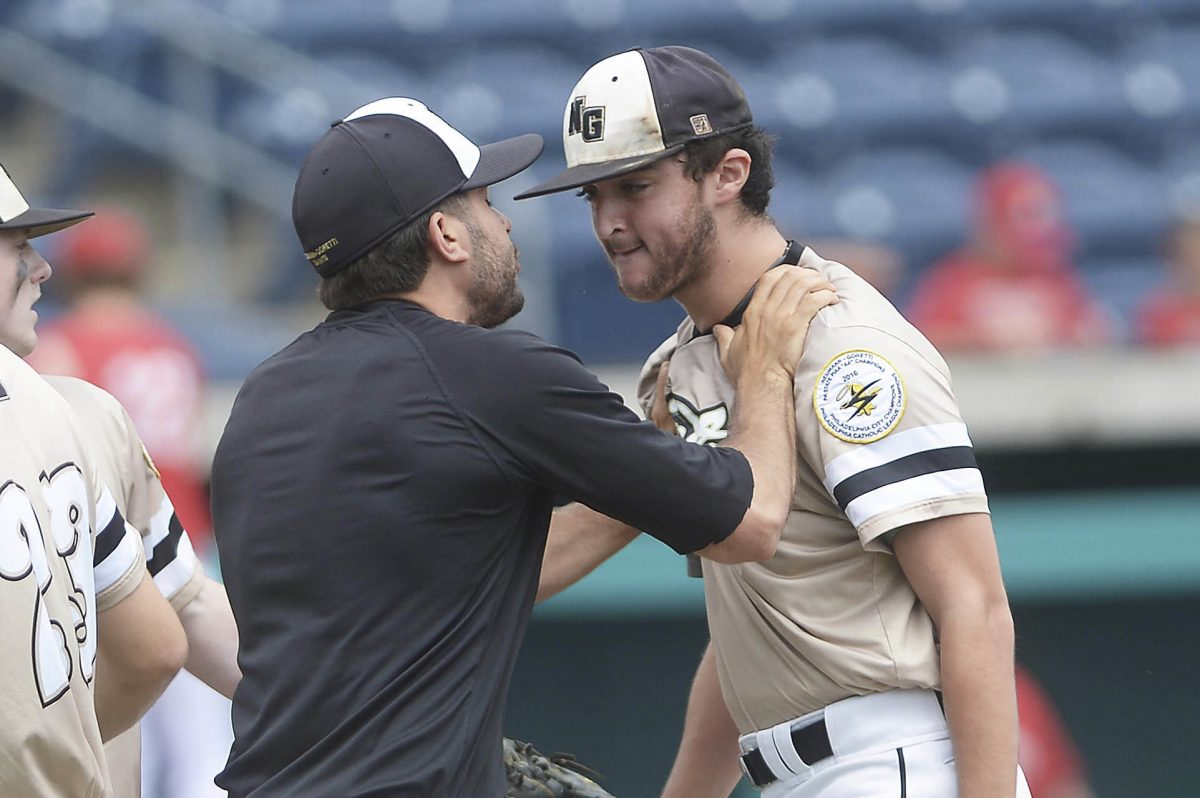 Joe Messina picked up the save in Neumann Goretti's win over Archbishop Carroll in Catholic League action.