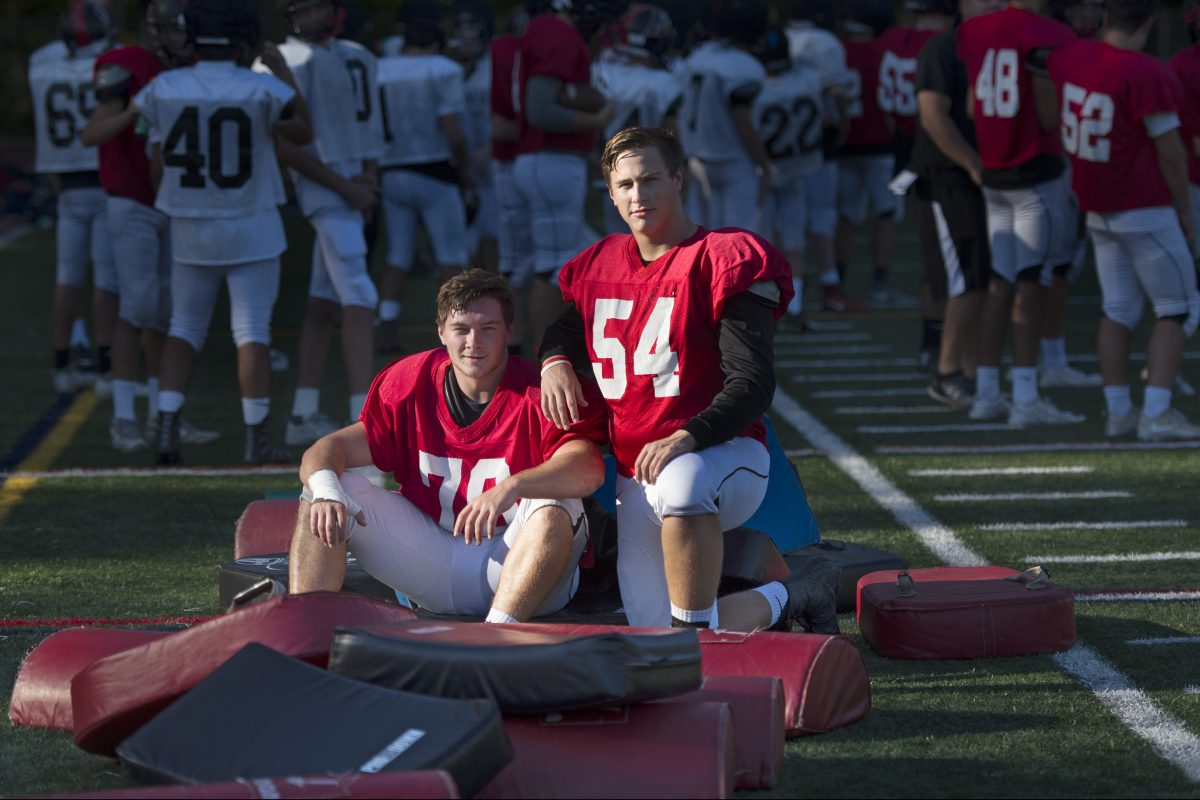 Haddonfield's Will Murray (right), with teammate Mark Troiani at an October practice.