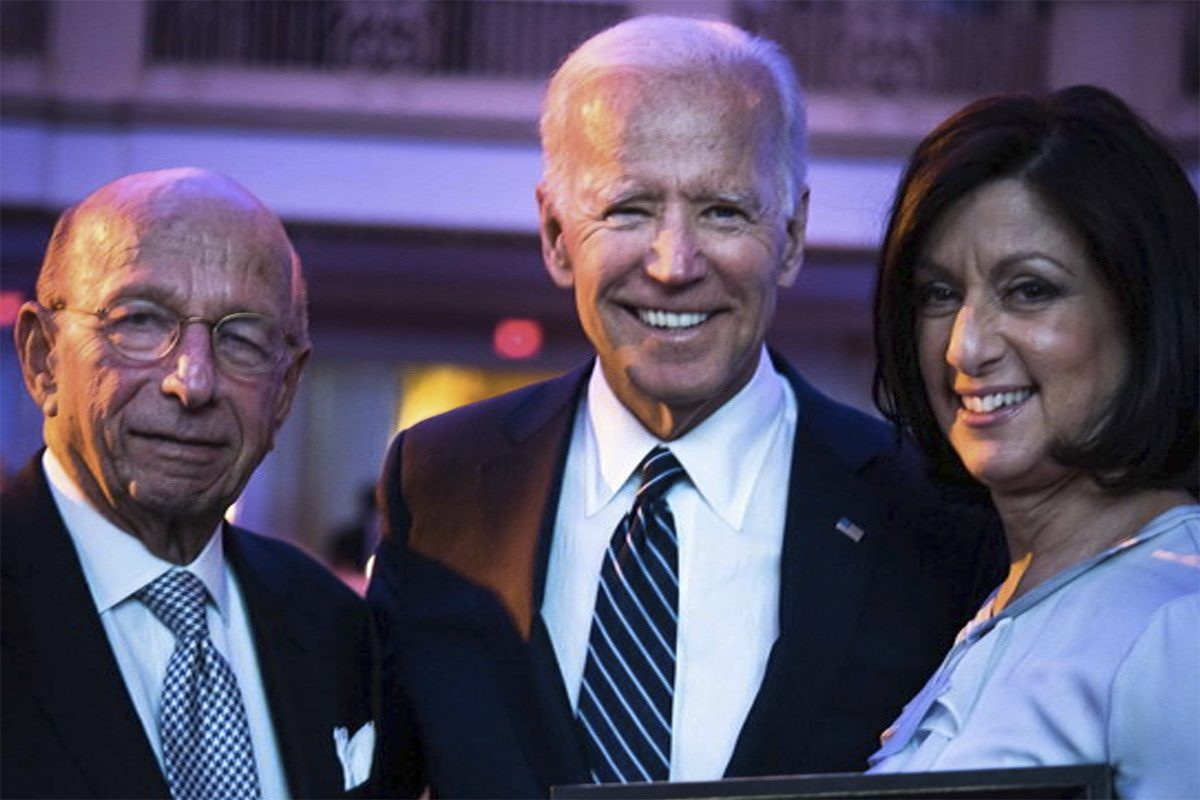 Joe Biden with Palm general manager Julie Sloviter and former PREIT executive chairman Ron Rubin.