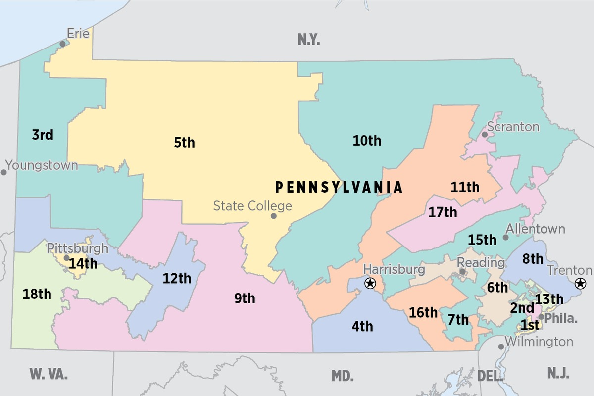 The congressional district map as adopted in 2011. The Pennsylvania Supreme Court has declared the map an unconstitutional partisan gerrymander.