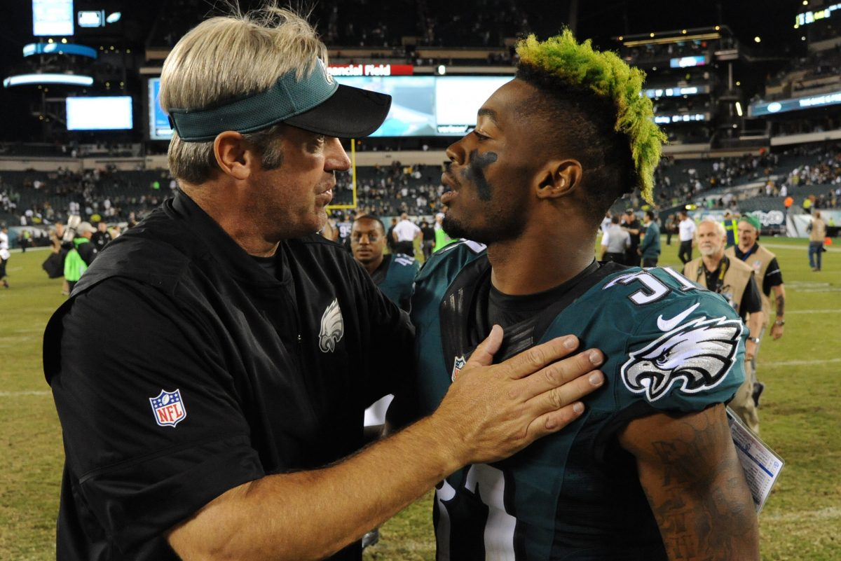 The Eagles gambled taking Jalen Mills (right) despite character concerns, and the locker room headed by Doug Pederson hasn't been affected by it.