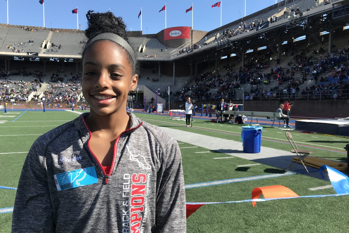 Delsea's Ashley Preston finished second in the pole vault during Thursday's Penn Relays.
