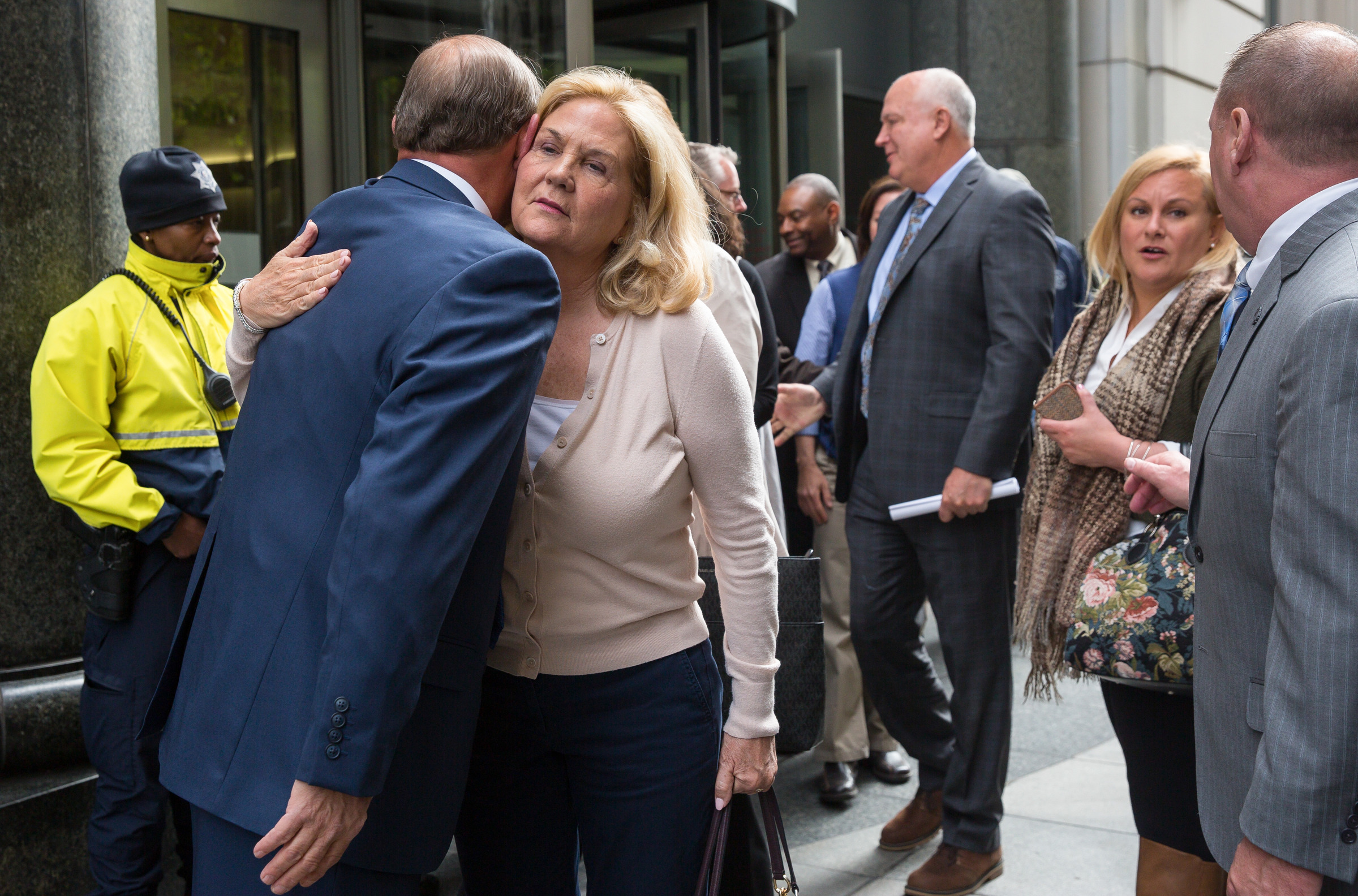 Maureen Faulkner, widow of of slain Police Officer Daniel Faulkner, receives a hug from a well-wisher outside of the Criminal Justice Center after attending a hearing about a constitutional challenge in the case of convicted cop-killer Mumia Abu-Jamal on Monday, April 30, 2018.