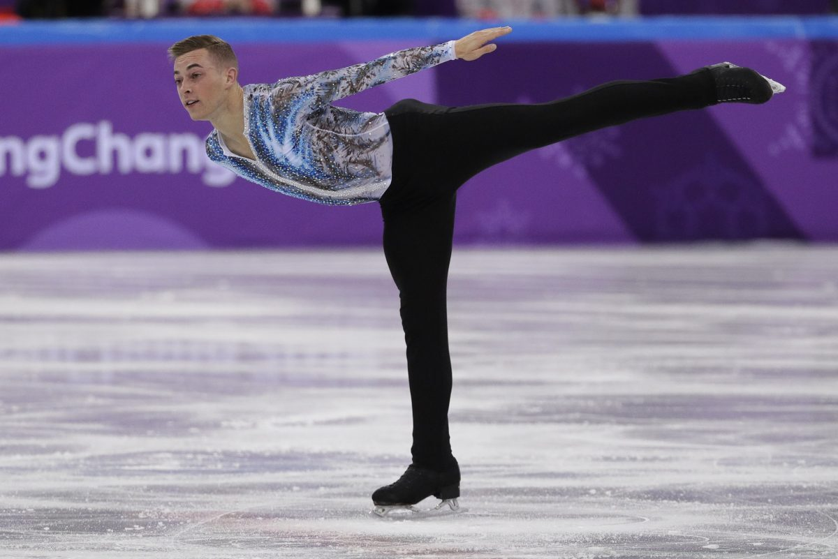 Adam Rippon performs in the men's single skating free skating at the 2018 Winter Olympics.