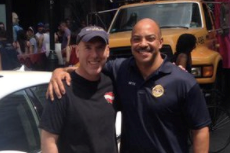 Michael Weiss (left) and Philadelphia District Attorney Seth Williams, outside the Gayborhood landmark Weiss owns, Woody´s Bar at the start of the city´s 2015 Gay Pride day.