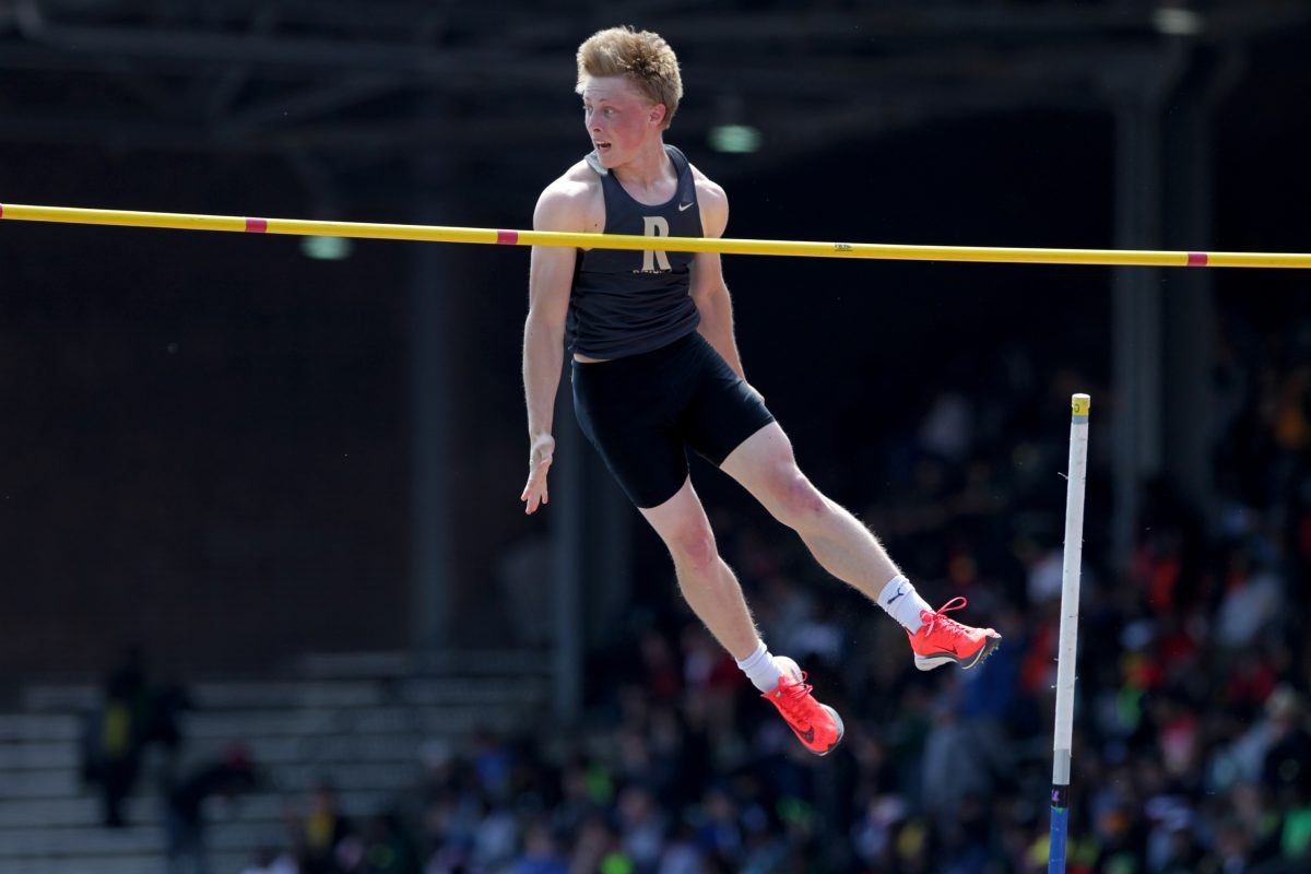 Charles Dever of Bayard Rustin finished 2nd in the High School Boys' Pole Vault at the Penn Relays.