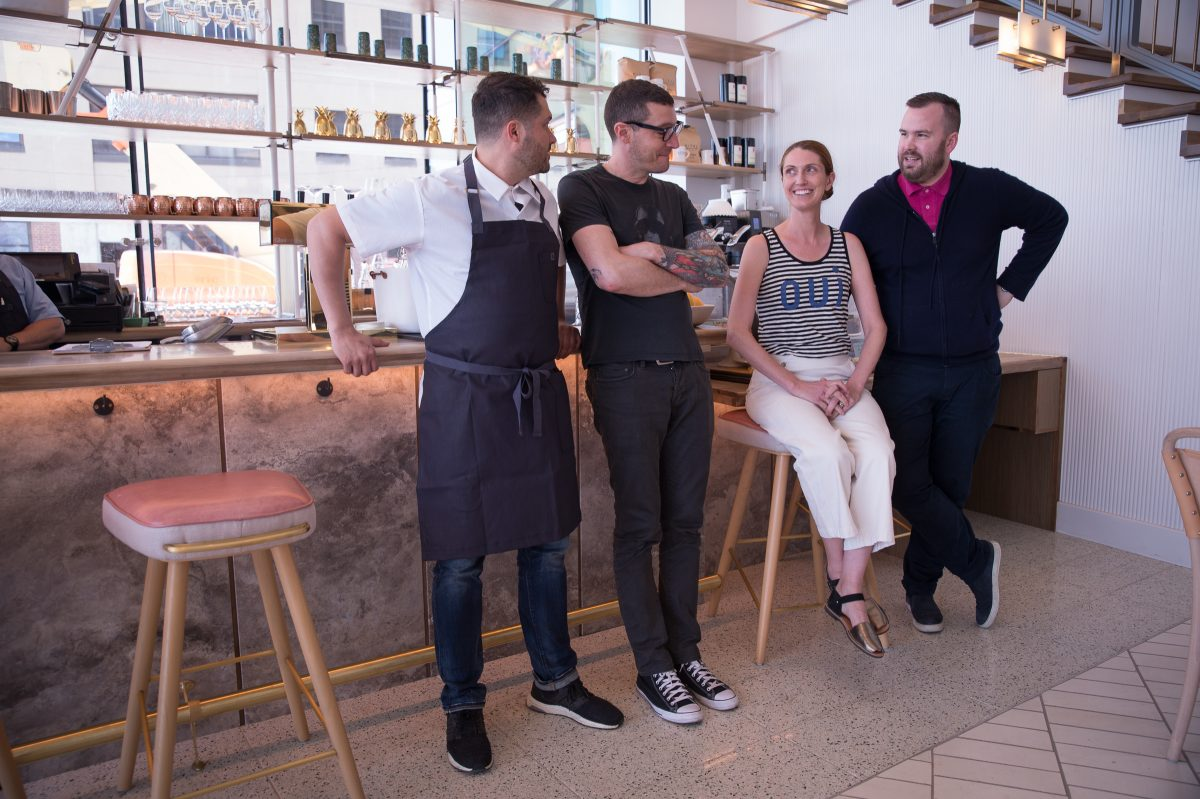 At Walnut Street Cafe (from left): chef Daniel Eddy, operator Patrick Cappiello, pastry chef Melissa Weller, and operator Branden McRill .