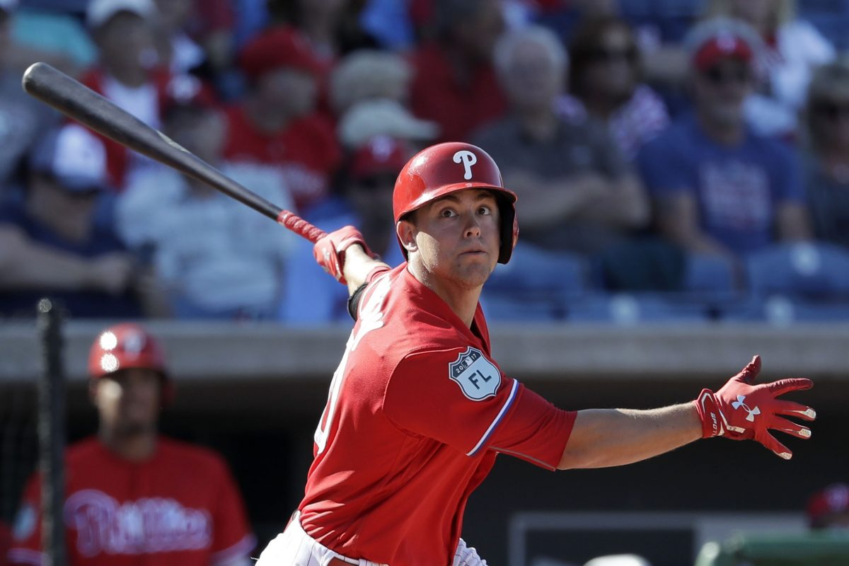 Scott Kingery during a spring training game with the Phillies in March. He advanced quickly to triple A.