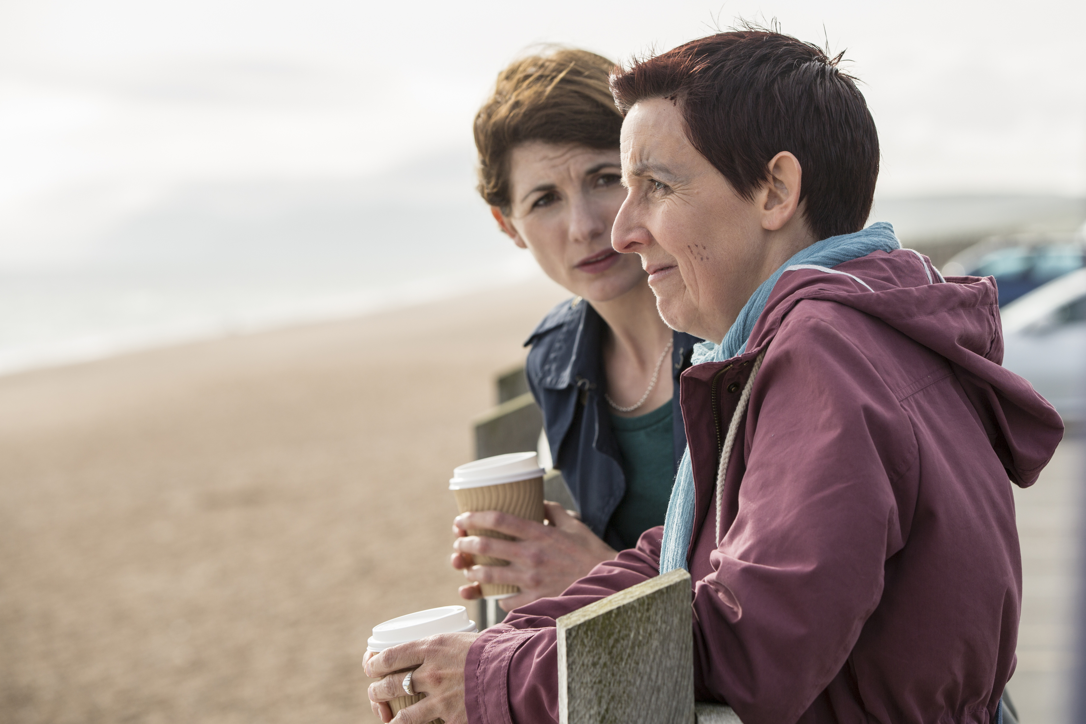 """Jodie Whittaker (left) and Julie Hesmondhalgh in a scene from """"Broadchurch"""" (COLIN HUTTON/Courtesy BBC America)"""