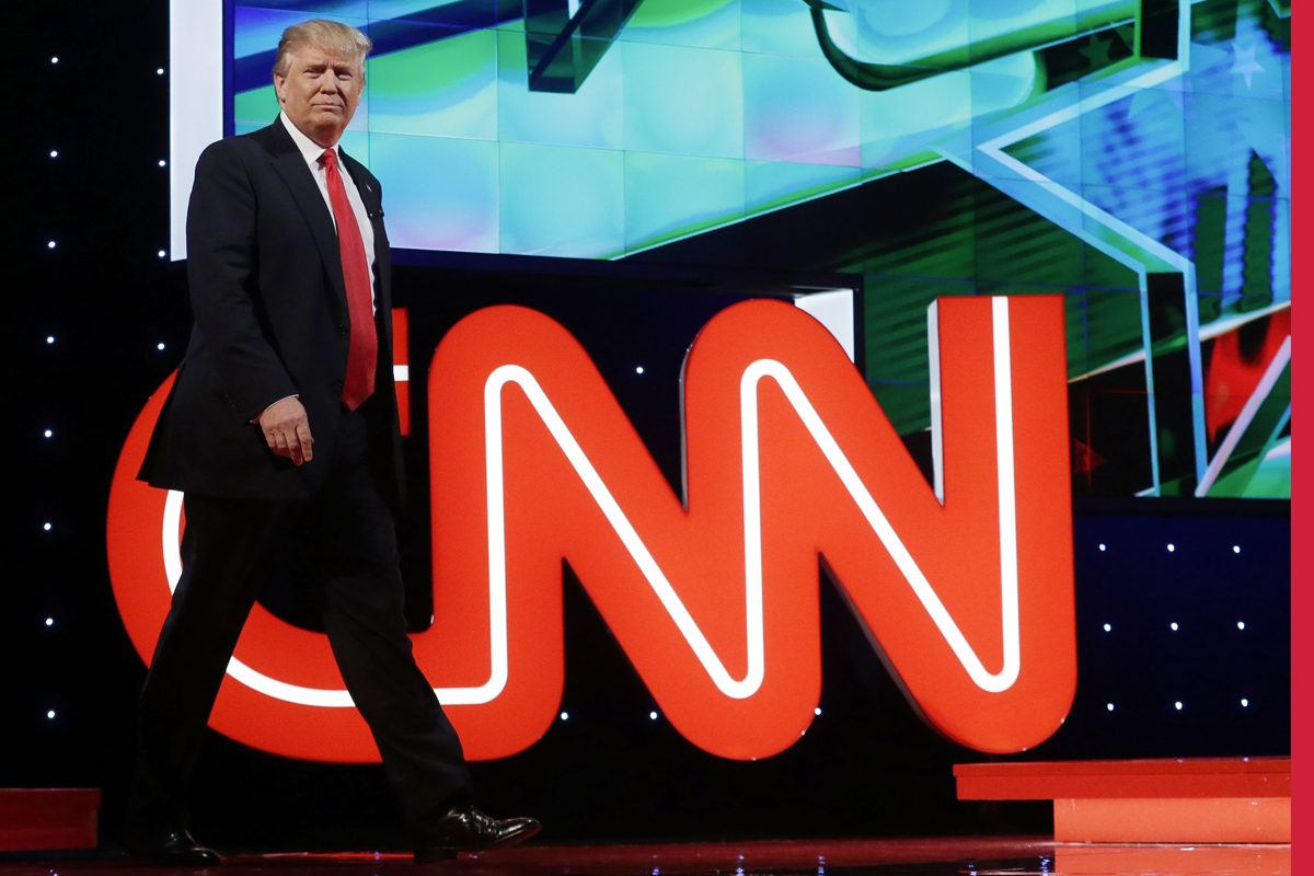 Happier Times: Then Republican-candidate Trump walks out on stage at a debate hosted by CNN.