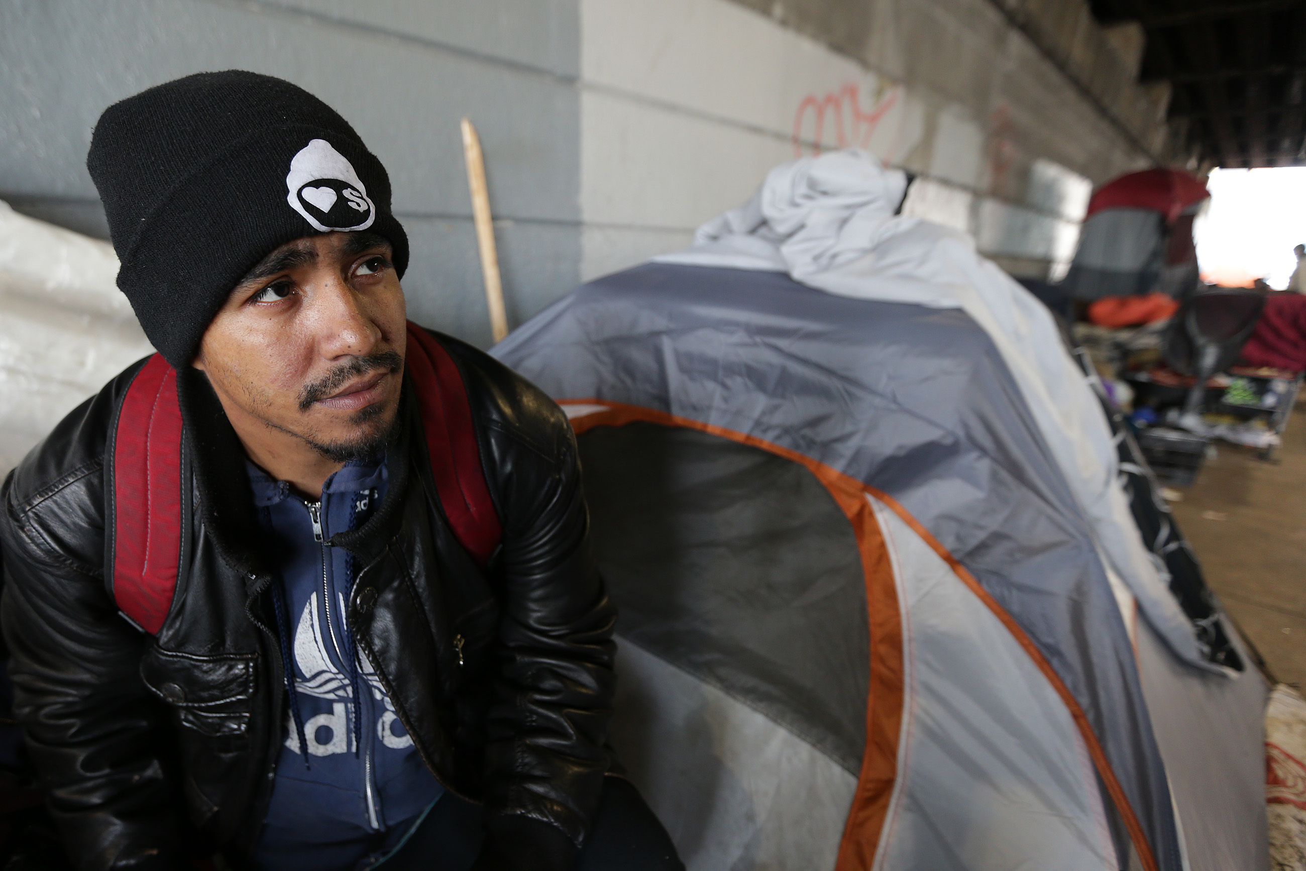 Salvatore Gonzalez lives under the bridge at Kensington and Lehigh. He said he would try to find another place to live after the city has given the homeless living under the bridge until May 30 to leave.