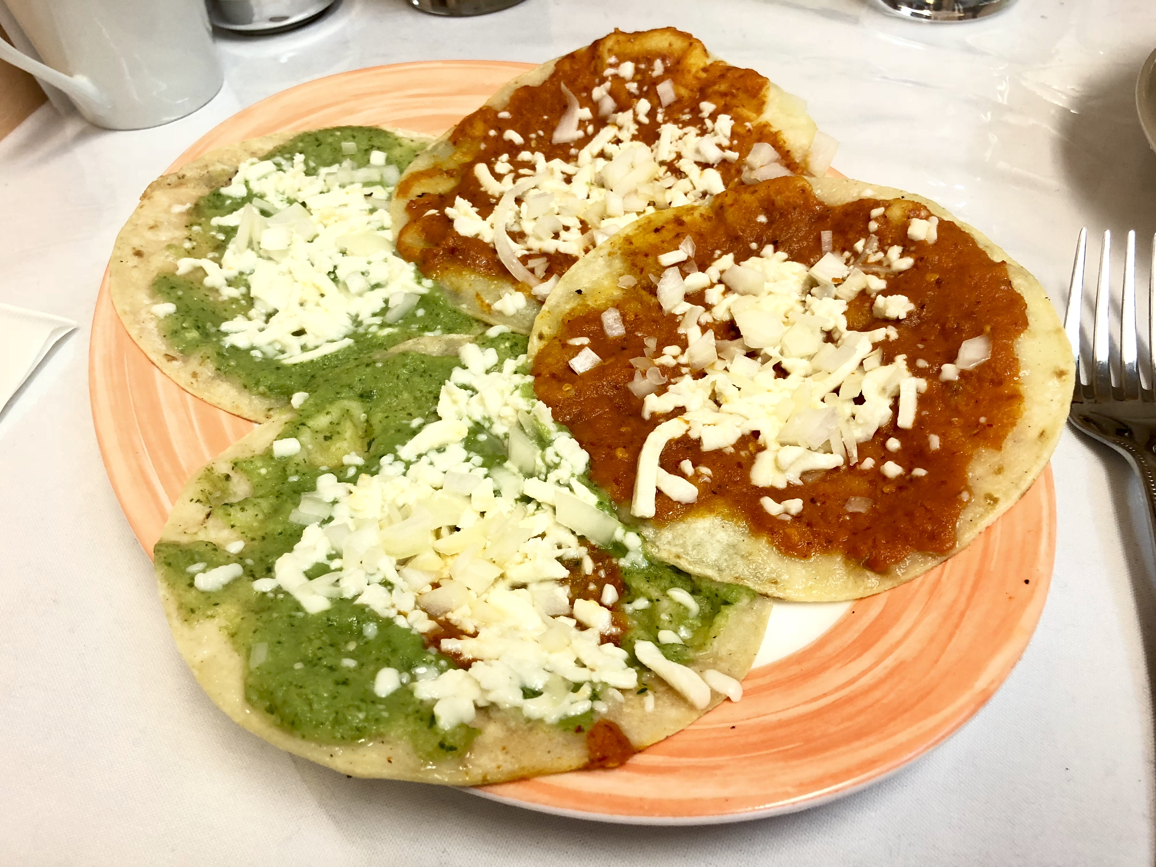 The chalupas at El Rancho Viejo are made from fresh tortillas topped with vibrant salsas, onions and cheese.