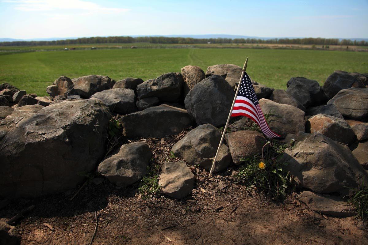 The Bloody Angle on the Union lines where Pickett's Charge was repulsed on the third day of fighting on July 3, 1863. The angle in the stone wall is considered the high watermark of the Confederacy and the battle there is regarded by many historians as the turning point of the Civil War.