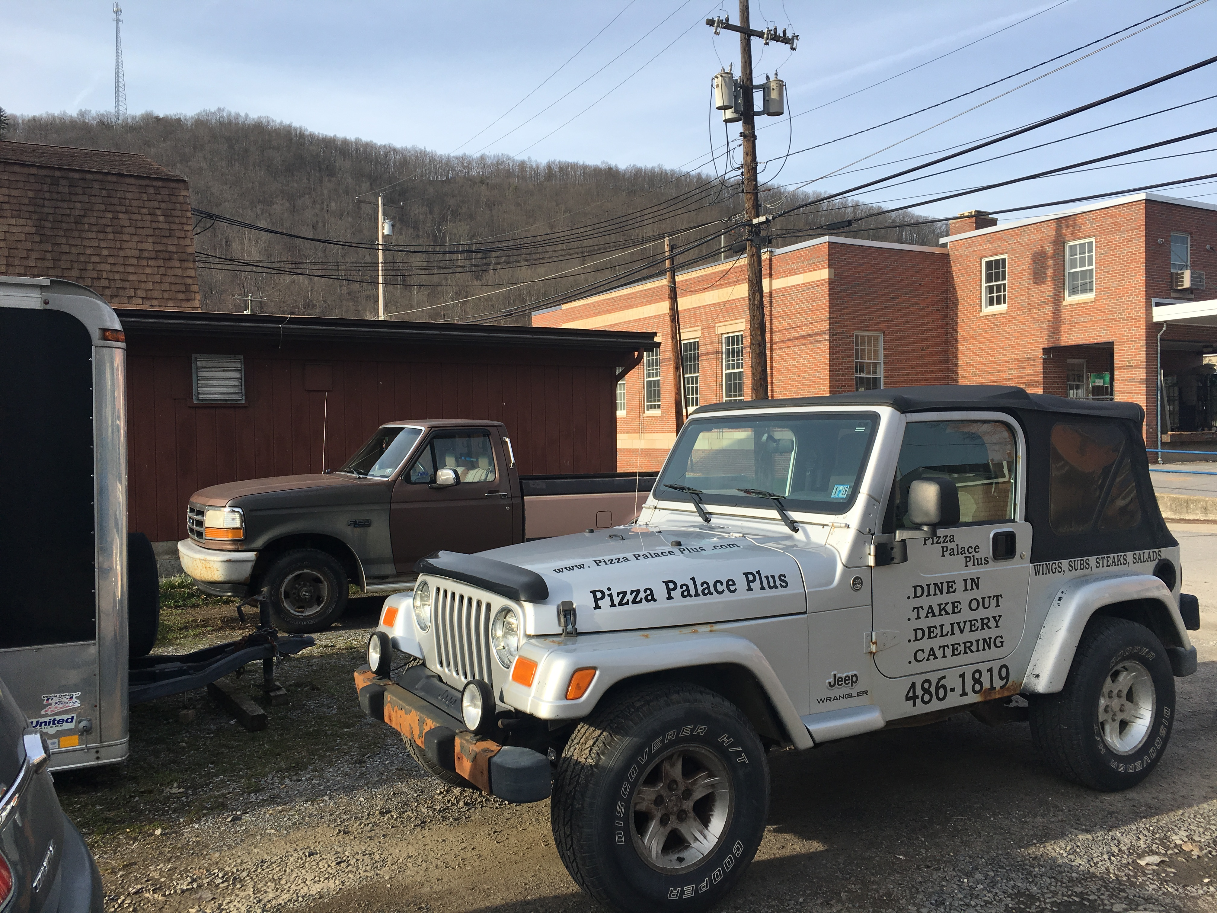 Pizza Palace Plus has a Jeep to deliver pies to hard-to-reach destinations.