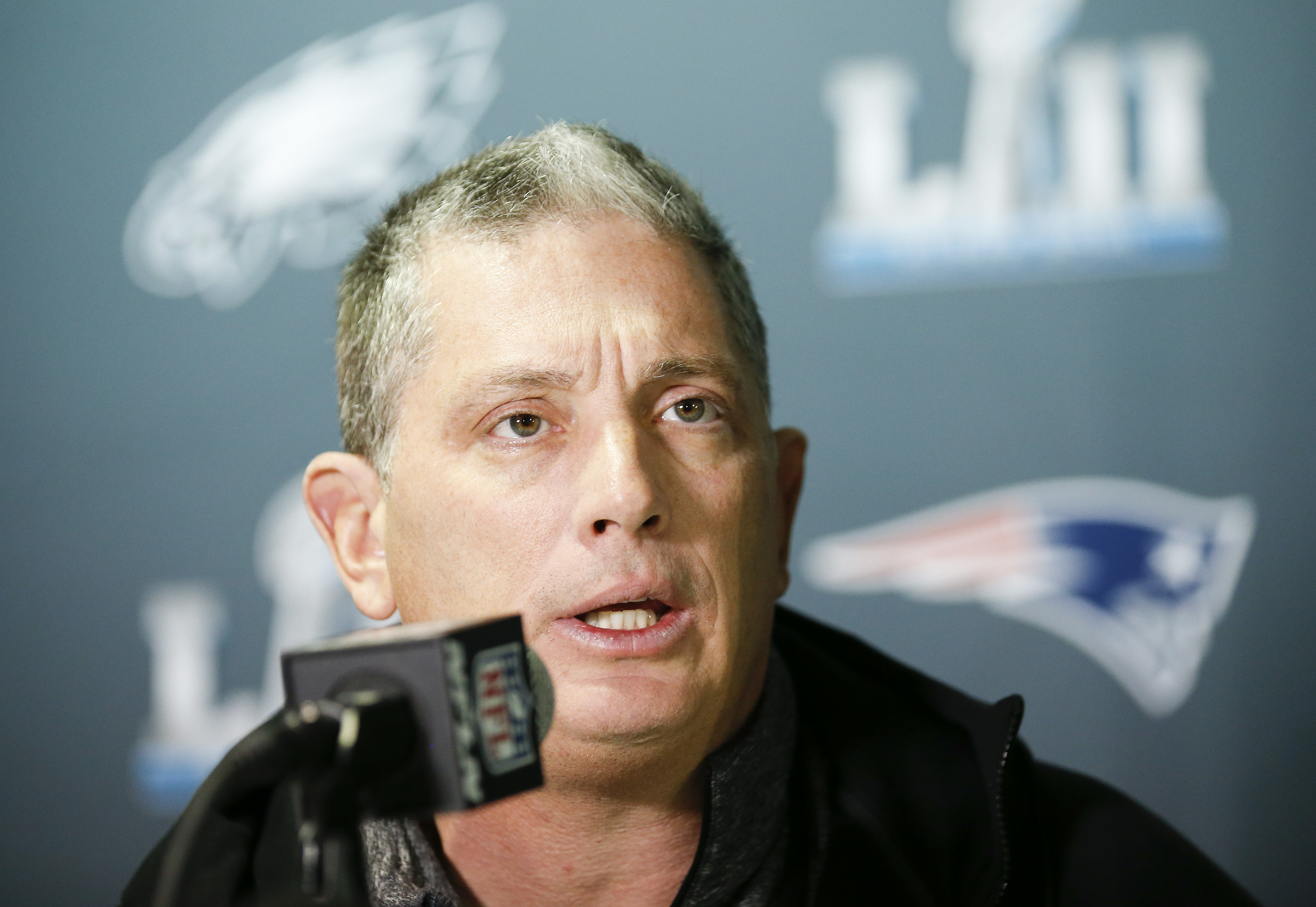 Eagles defensive coordinator Jim Schwartz taking questions from the media four days before the Super Bowl.