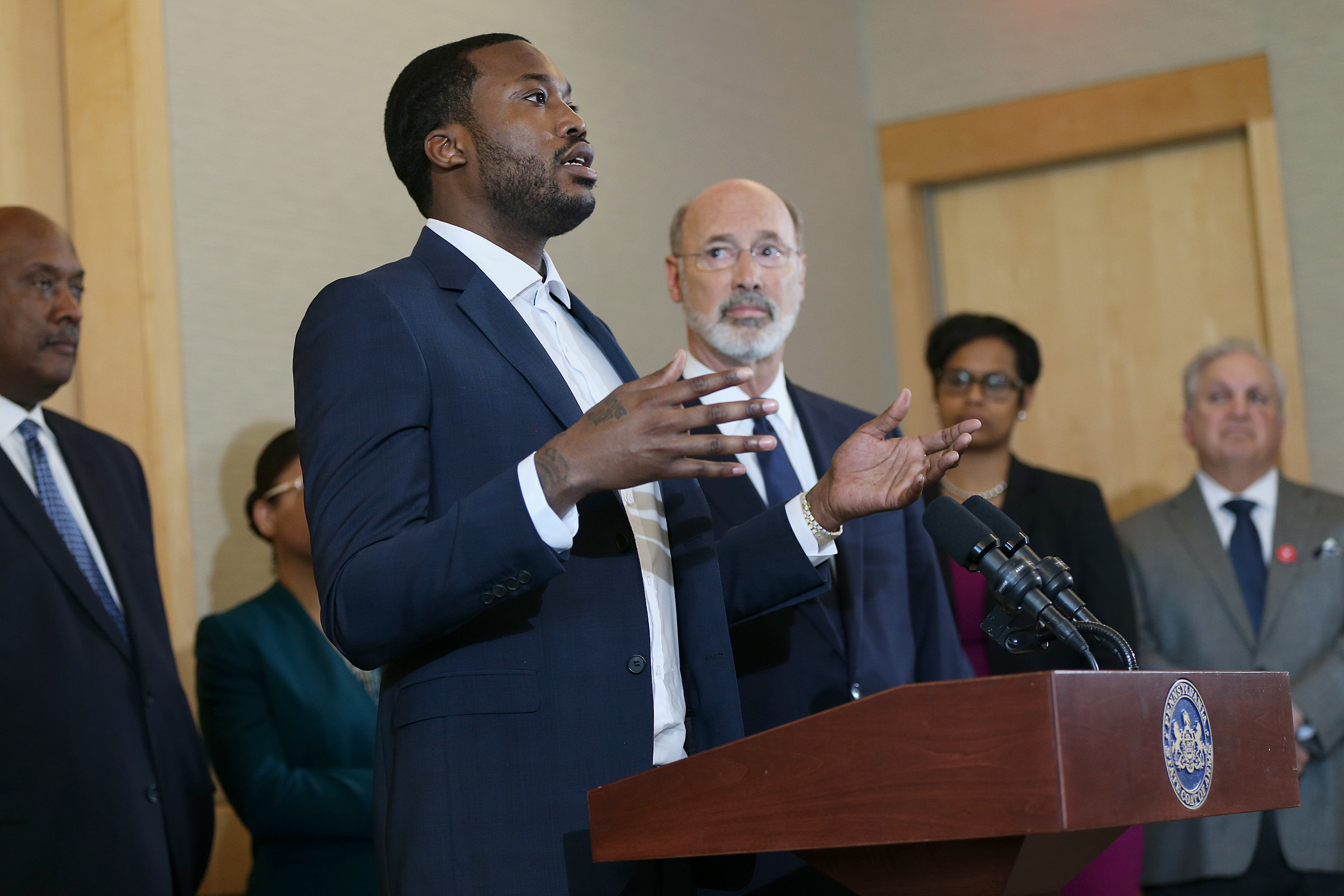during a news conference promoting Gov. Tom Wolf´s proposals to reform the criminal justice system at the National Constitution Center on Thursday, May 3, 2018.