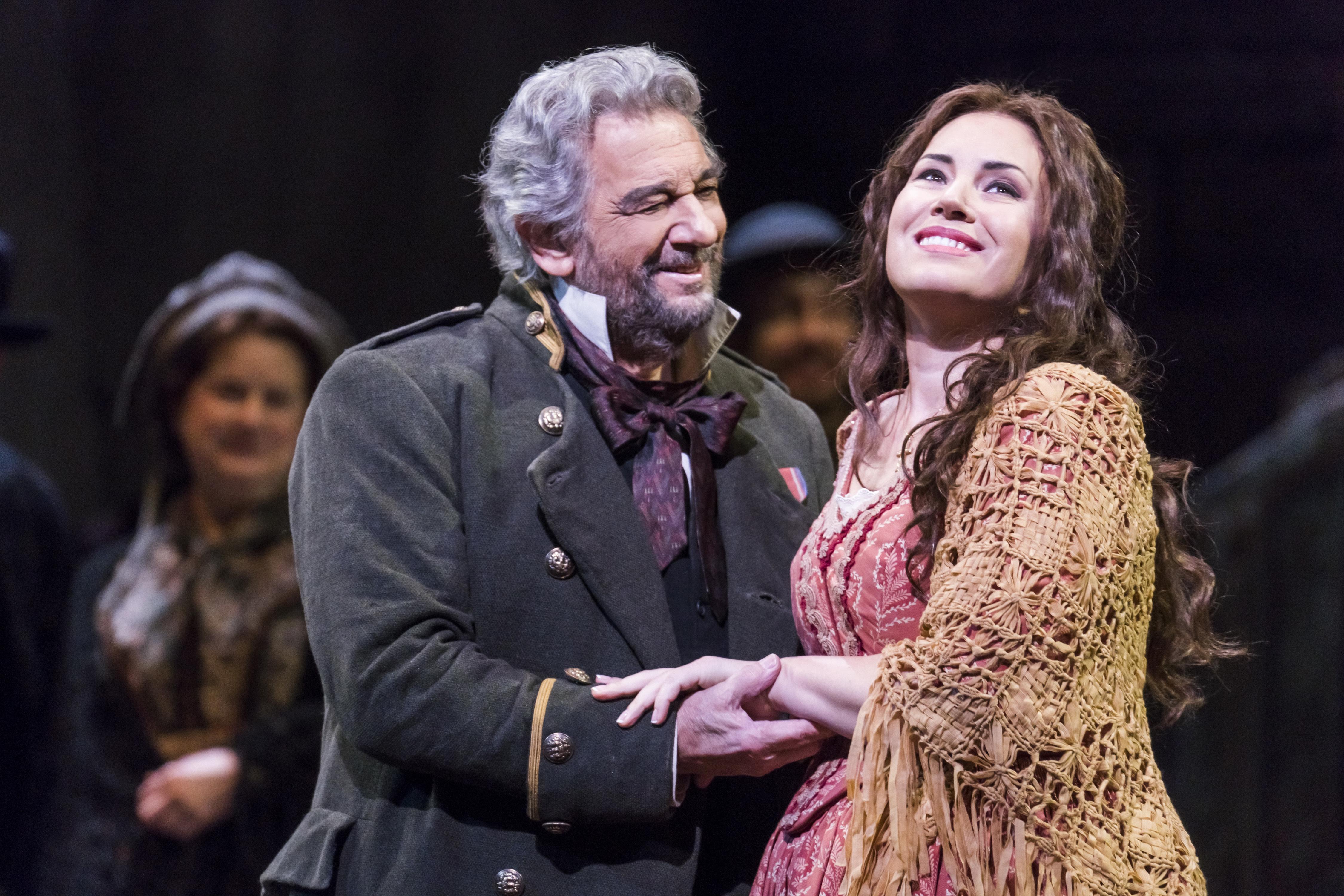 "Sonya Yoncheva, right and Placido Domingo in Verdi´s ""Luisa Miller"" at the Metropolitan Opera."