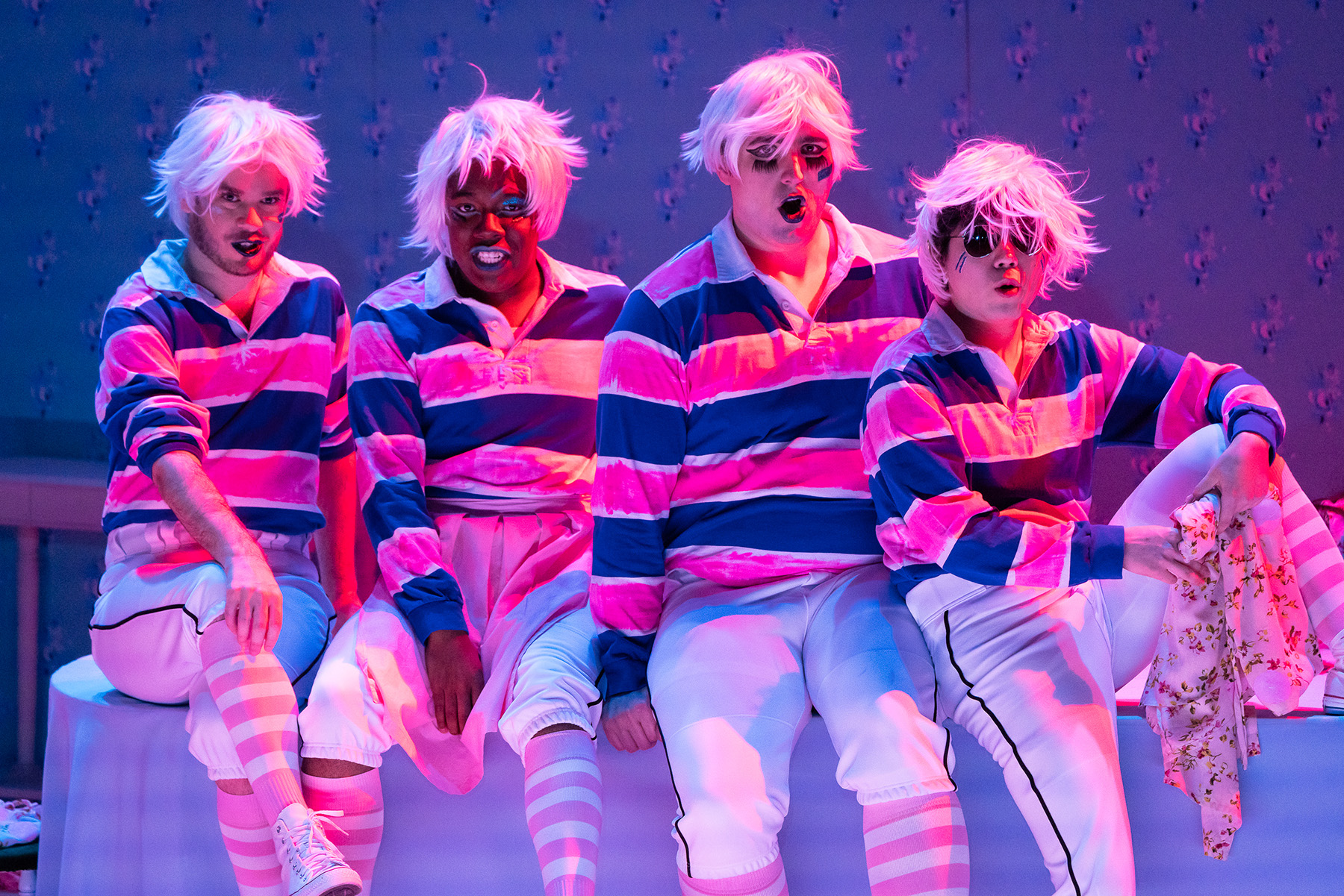 From Curtis Opera Theatre´s Mahagonny Songspiel, left to right, Tyler Zimmerman (Bobby); Aaron Crouch (Billie); Adam Kiss (Jimmy); and Seongwo Woo (Charlie)