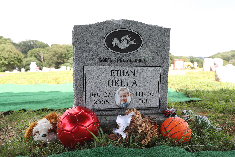 Ethan Okula's donated headstone.