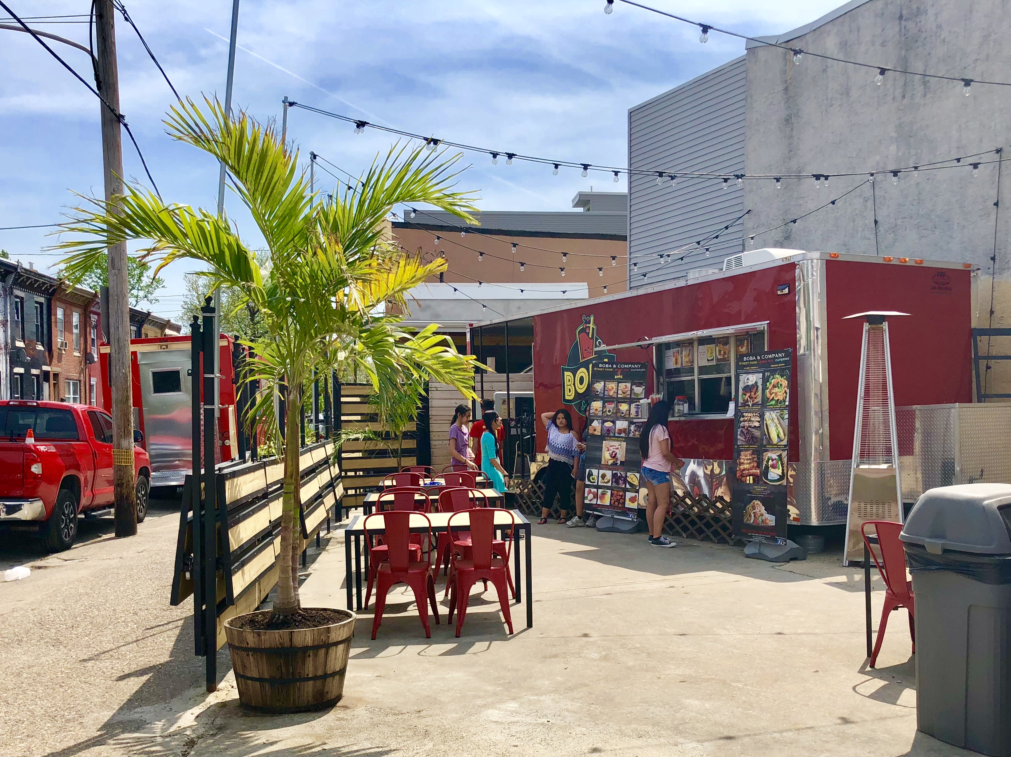 The Boba and Company food truck specializing in bubble tea and Cambodian street food truck brightens-up a corner lot at 6th and Moyamensing in South Philadelphia.
