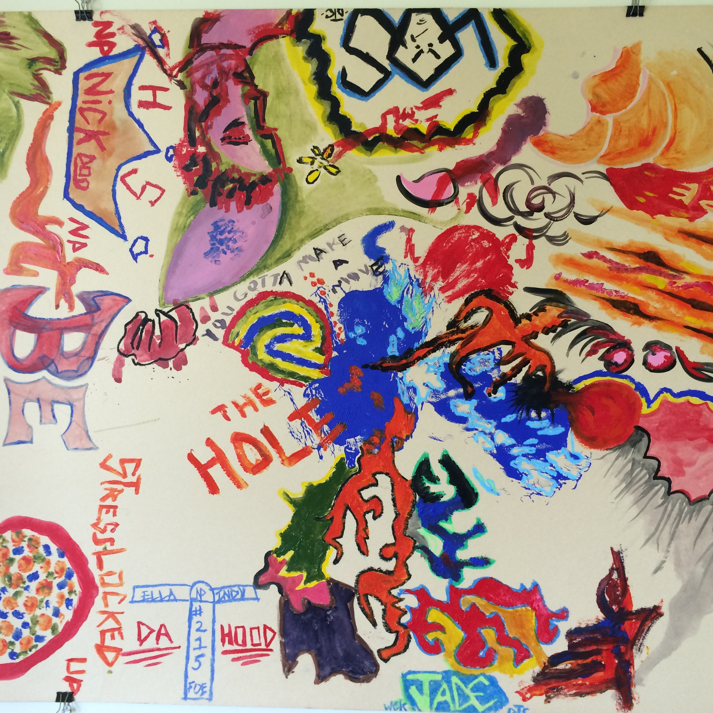 """Artwork made by juveniles held as adults at the Philadelphia Industrial Correctional Center, as part of the Youth Art & Self-Empowerment Project, suggests their feelings about life in segregation, or """"the hole."""""""