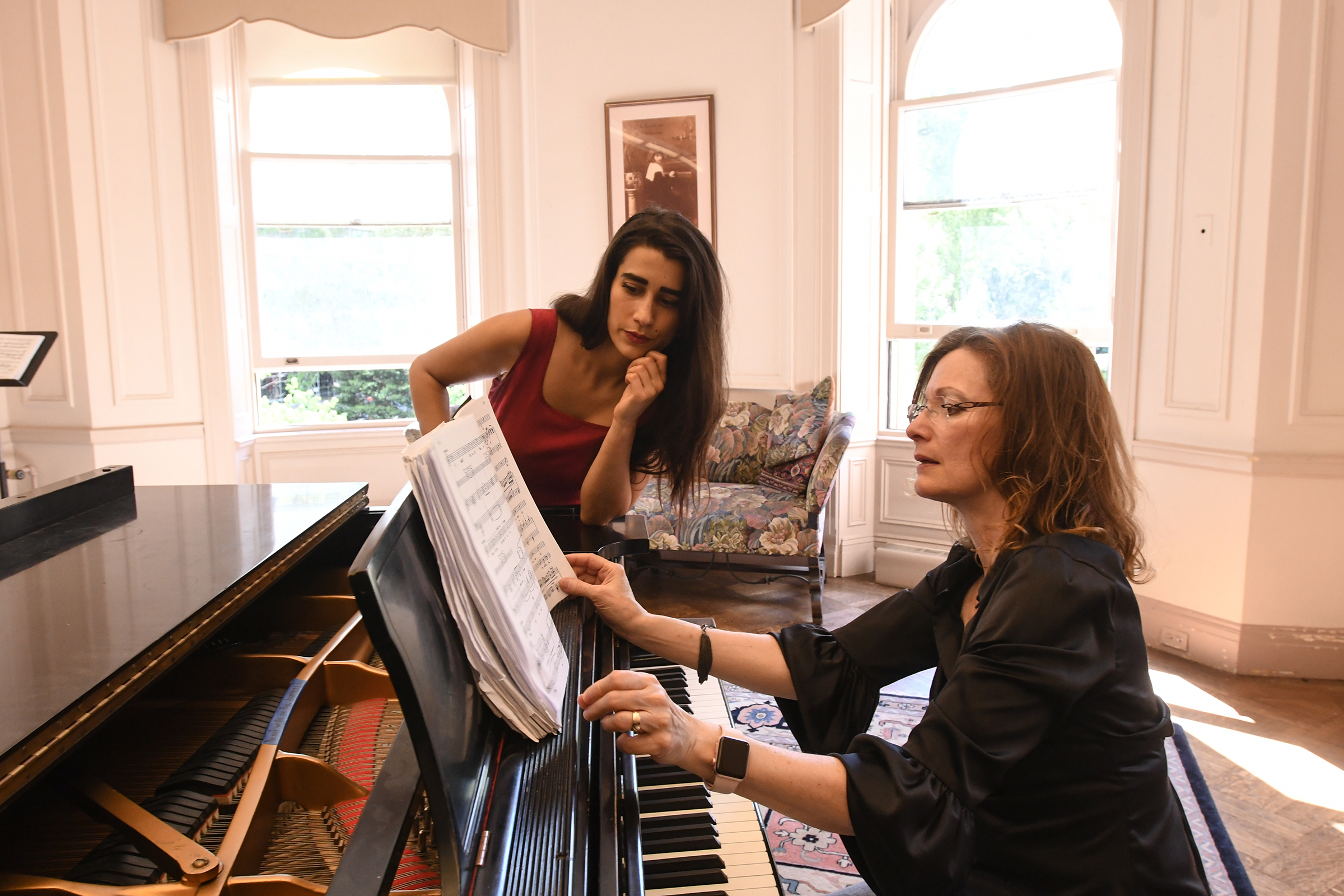 Danielle Orlando, opera coach at the Curtis Institute of Music, at the keyboard with a student, soprano Elena Perroni
