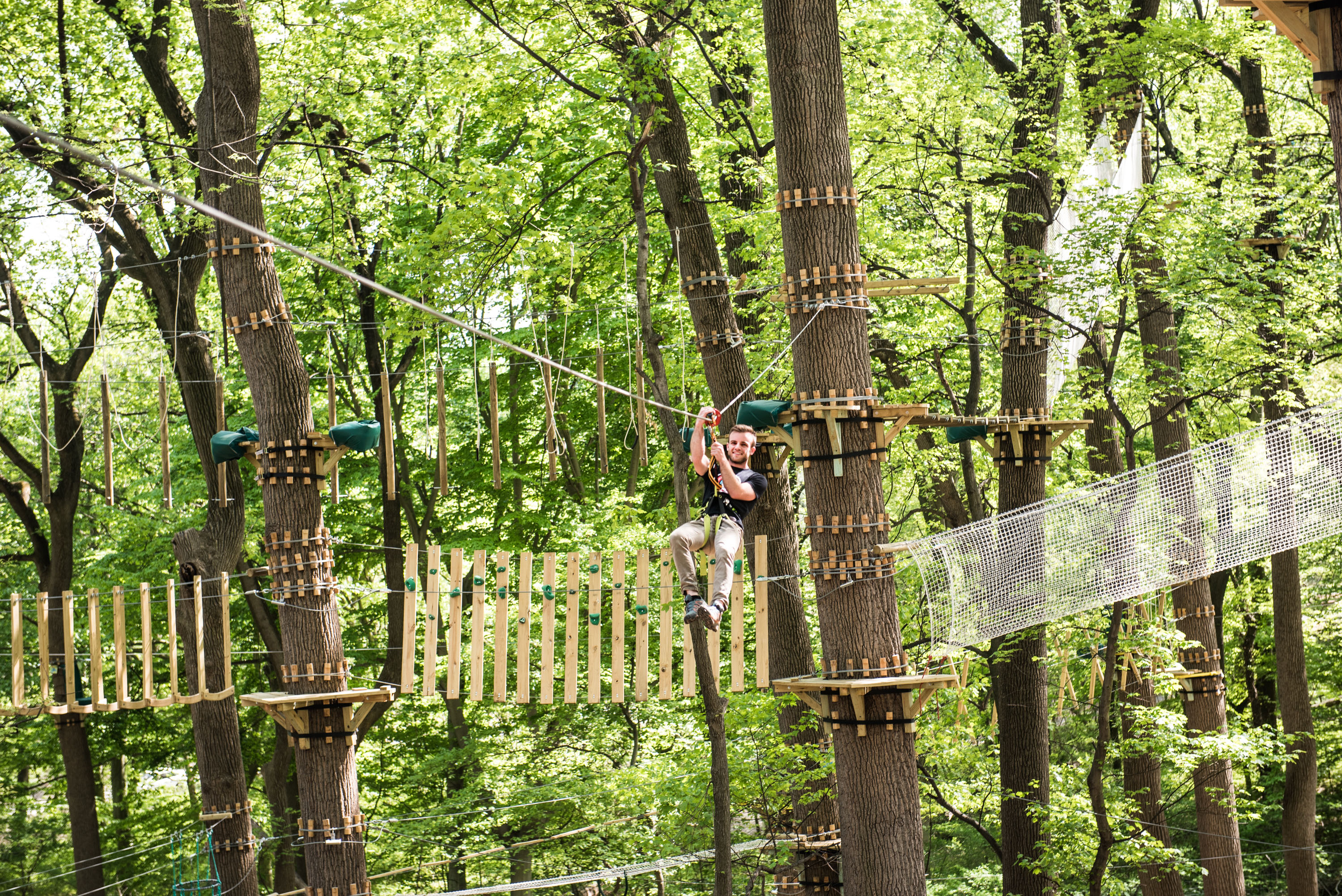 Treetop Quest, a sky-high obstacle stretched across nearly four acres of West Fairmount Park, opens in Philly this Saturday, May 12.