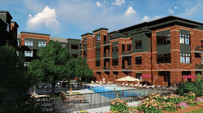 The apartments will include many amenities, that include a courtyard with a pool, dog park, and exercise facilities.